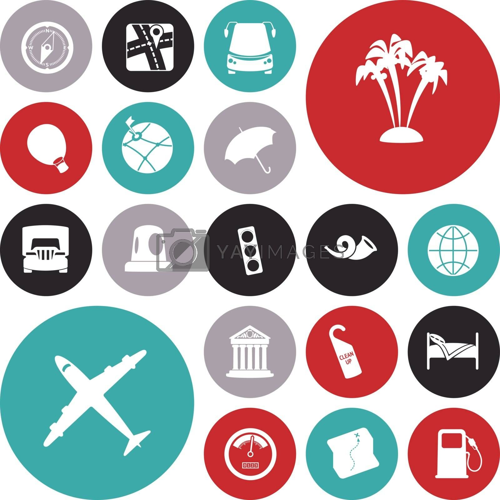 Flat design icons for travel and transportation. Vector illustration.