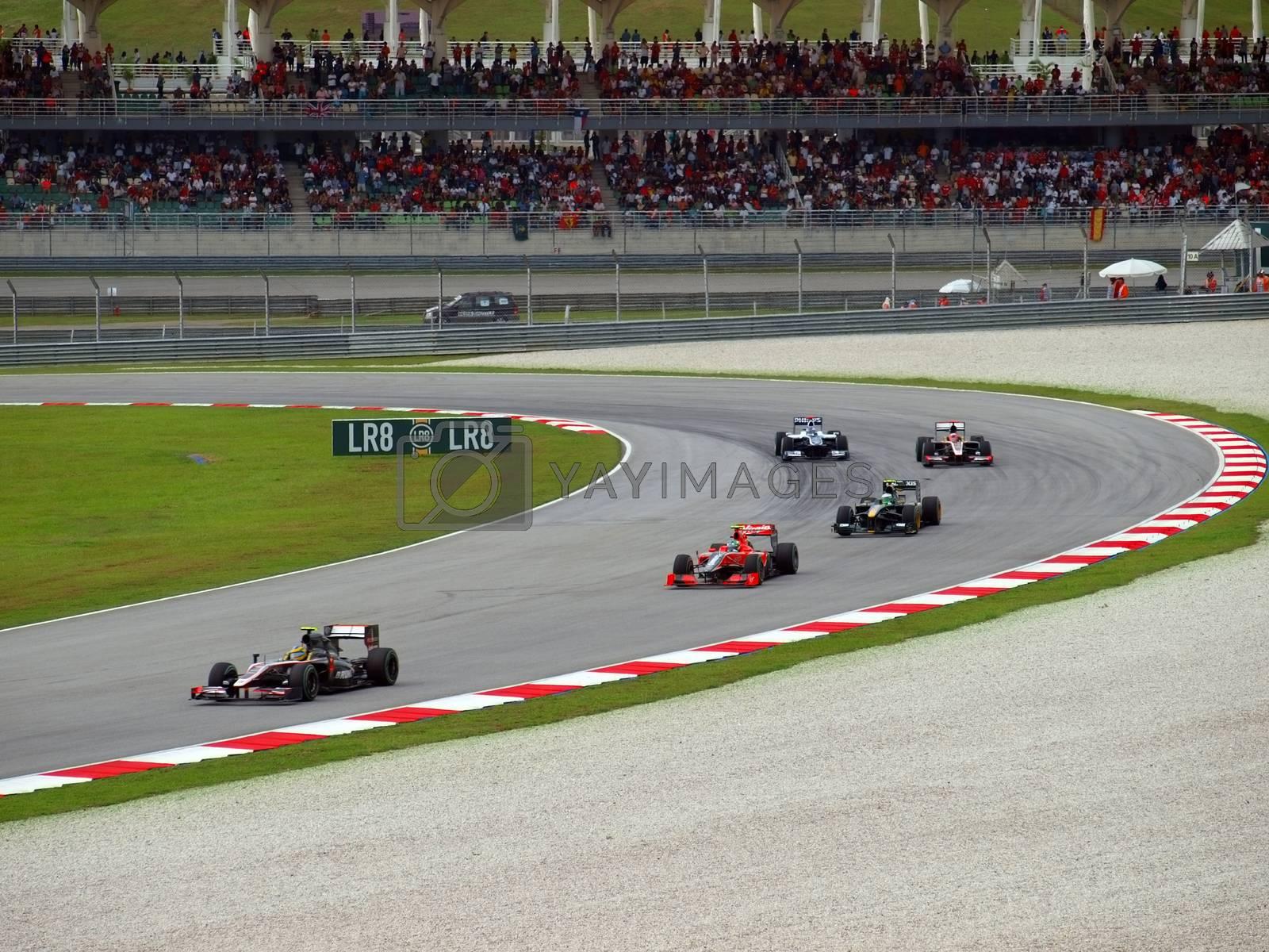 Sepang, Malasia - April 4, 2010 : Malaysian Grand Prix at Sepang F1 first circuit April 4, 2010 in Sepang, Malasia