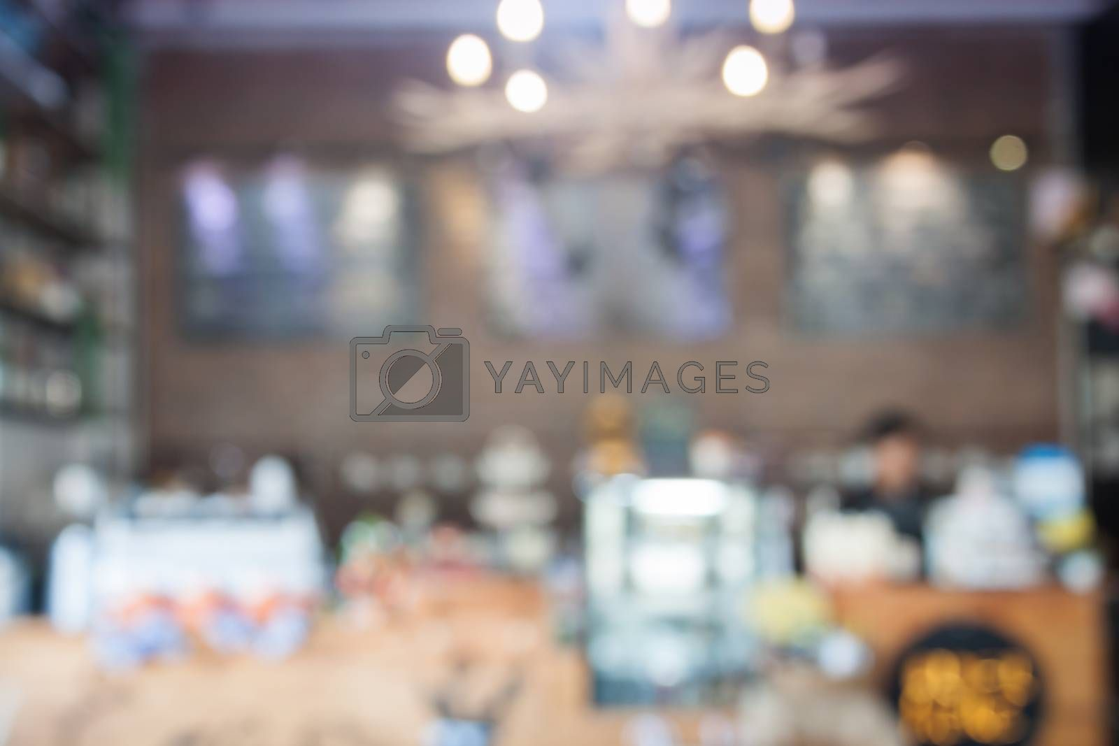 Abstract blur coffee shop interior for background, stock photo