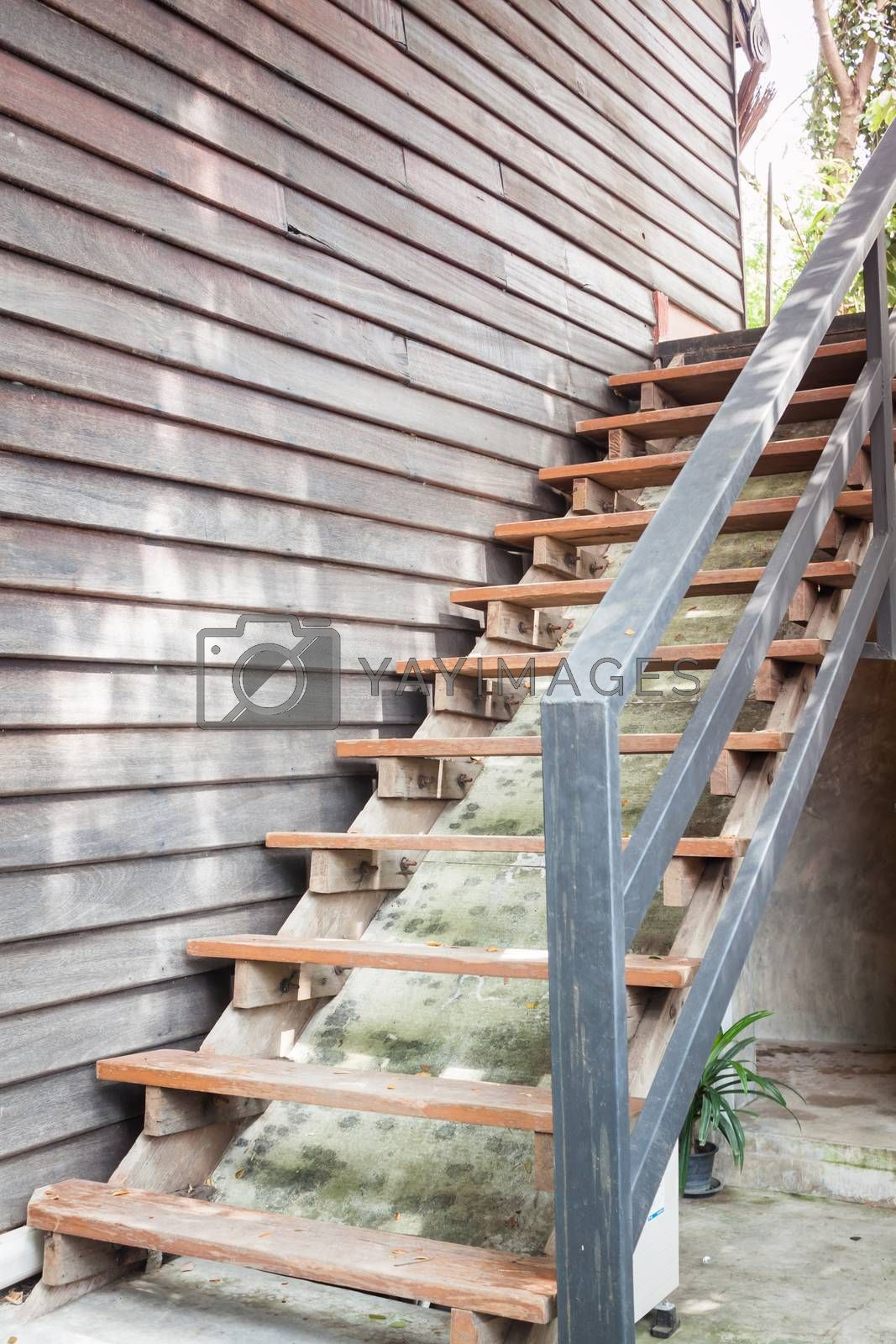 Wooden stairs in coffee shop, stock photo