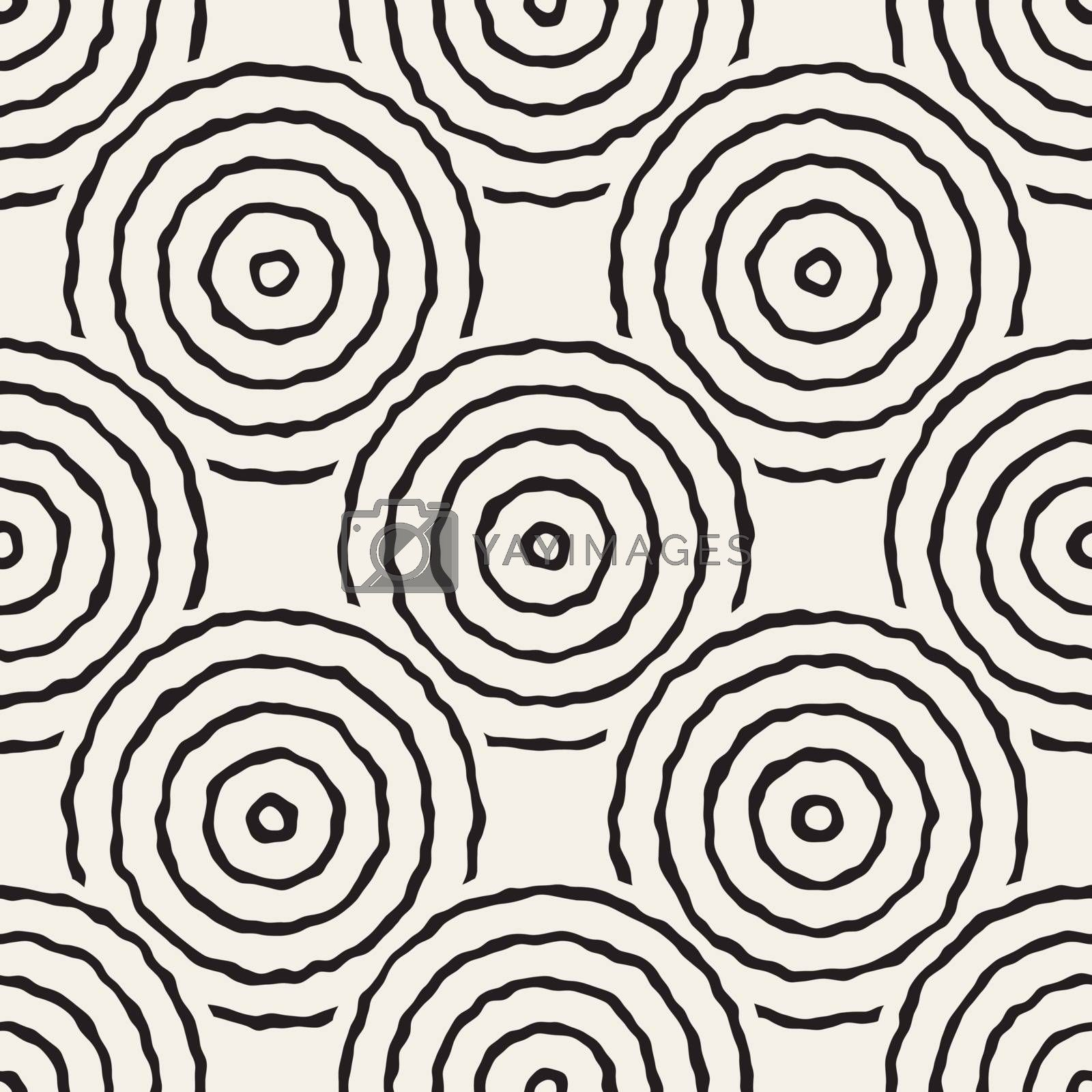 Vector Seamless Black And White Freehand Concentric Circles Pattern. Abstract Freehand Background Design