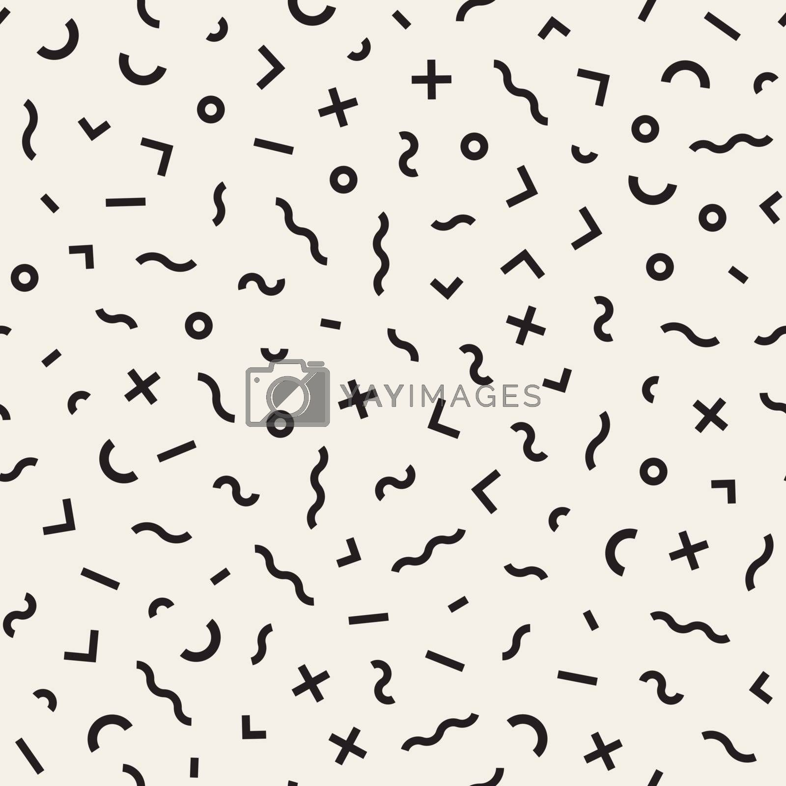 Vector Seamless Black And White Jumble Shapes Pattern. Abstract Geometric Background Design
