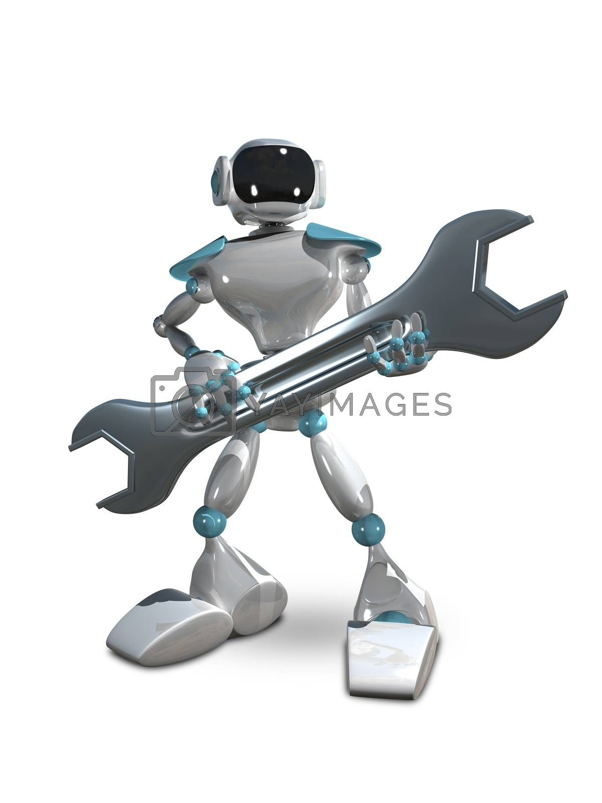 3D Illustration of White Robot with Wrench