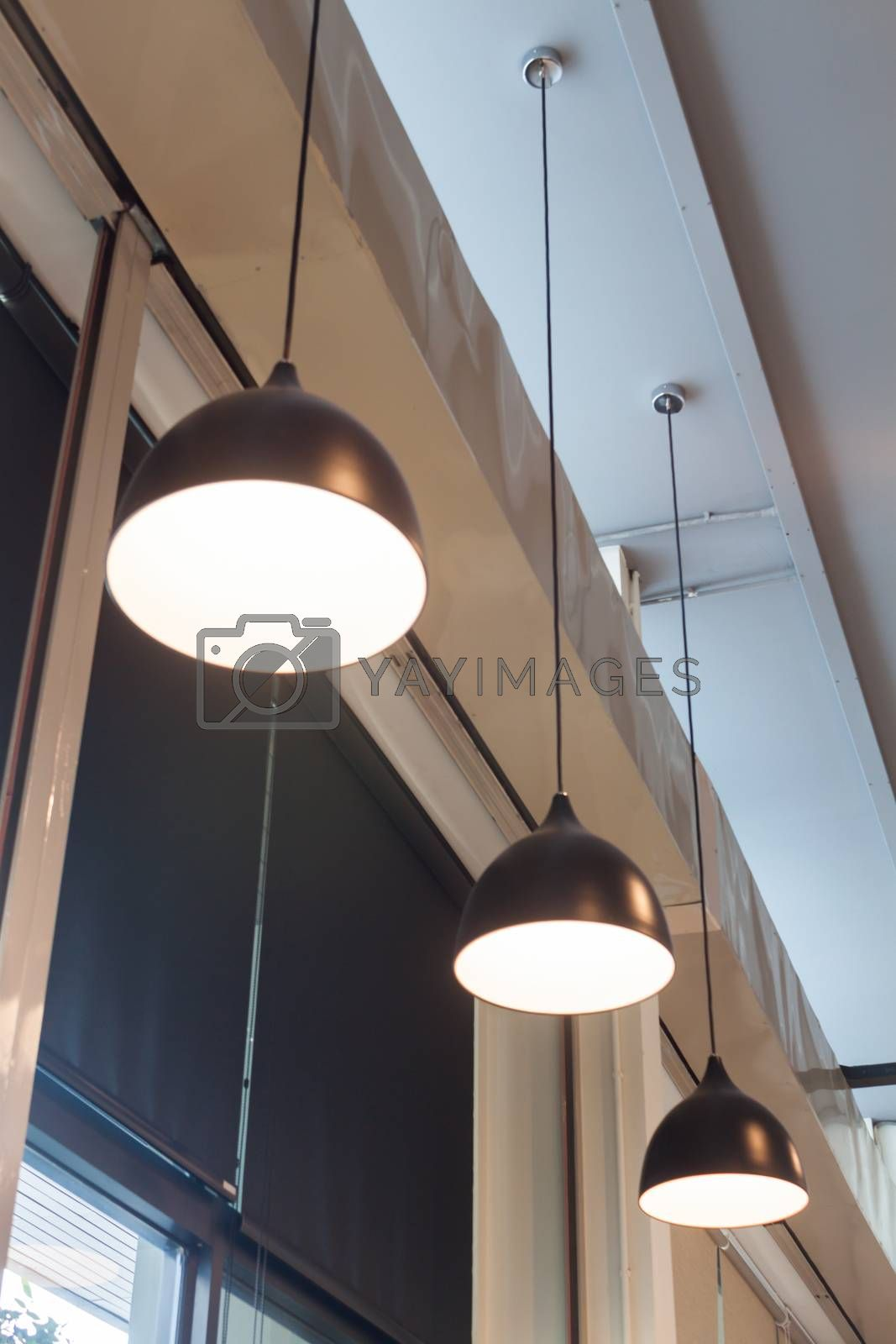 Lamps decorated in coffee shop, stock photo
