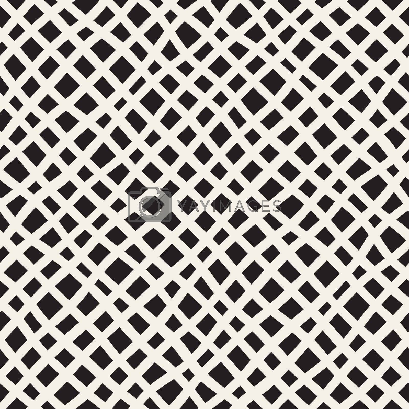 Vector Seamless Hand Drawn Diagonal Grid Pattern. Abstract Freehand Background Design