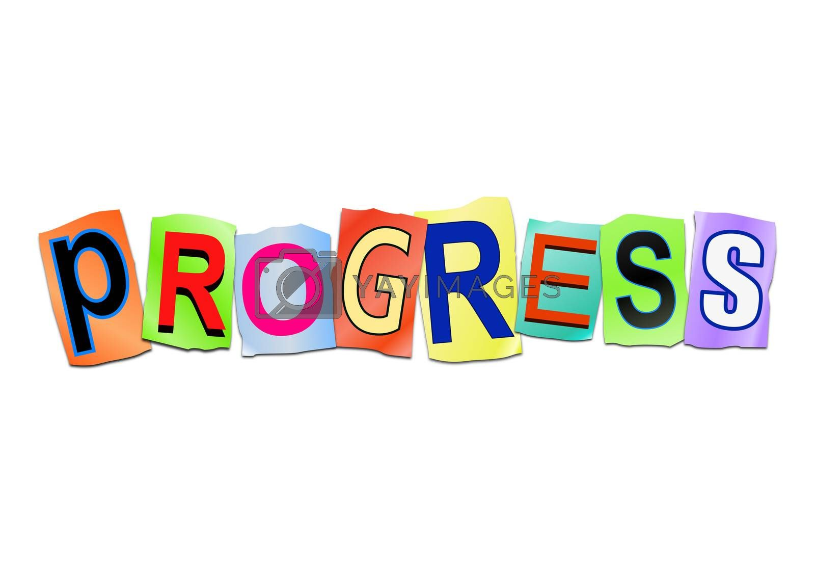 Illustration depicting a set of cut out printed letters arranged to form the word progress.