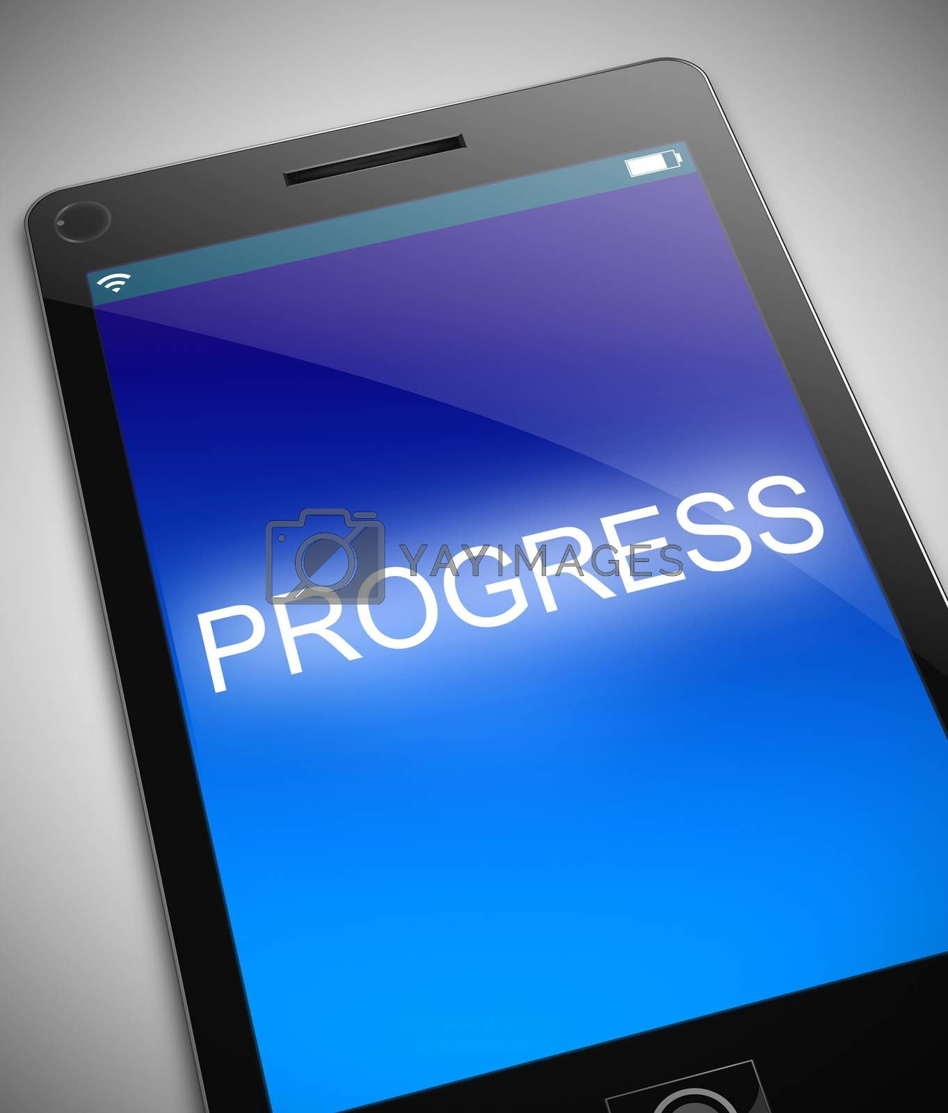 Illustration depicting a phone with a progress concept.