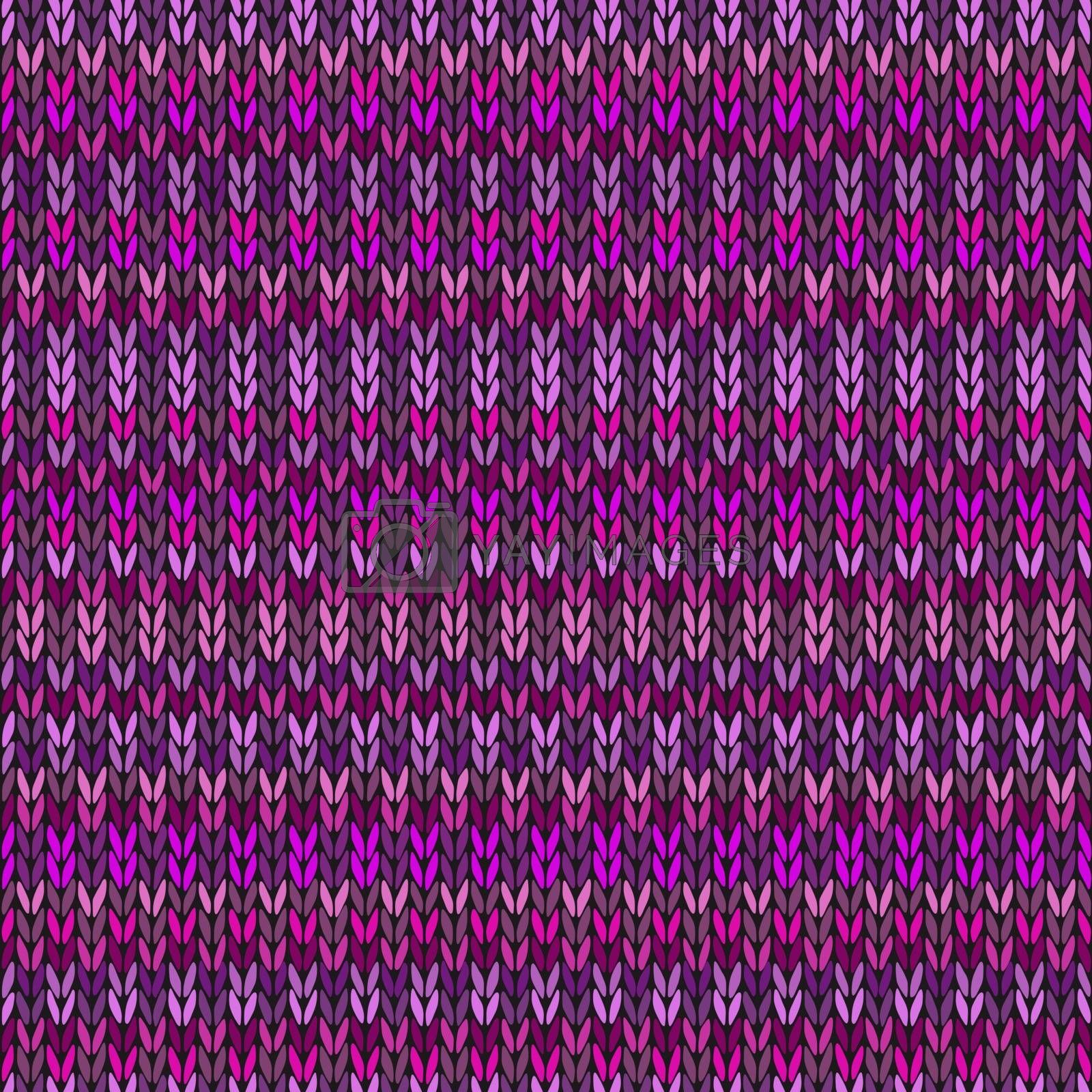 Vector Needlework Background, Violet Ornamental Knitted Pattern