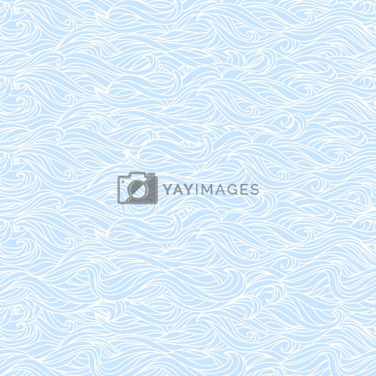 Abstract Wavy Light Blue and White Seamless Texture