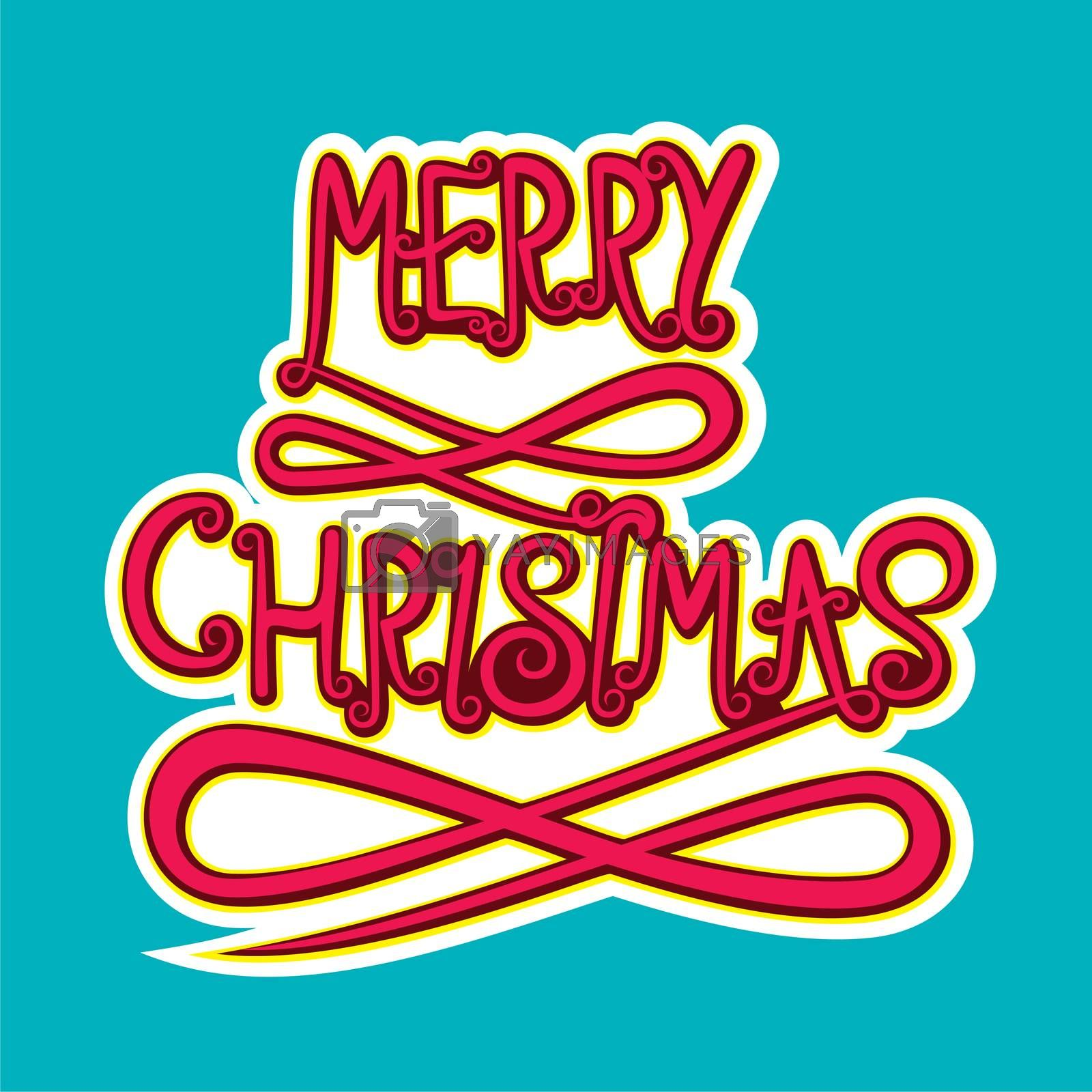 abstract merry christmas typography poster design vector