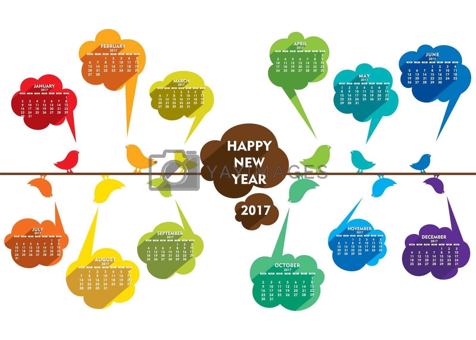 creative happy new year 2017 poster design using bird concept design