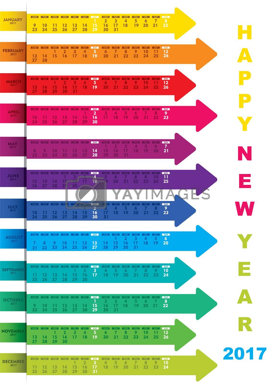 color new year 2017 calendar design using  arrow