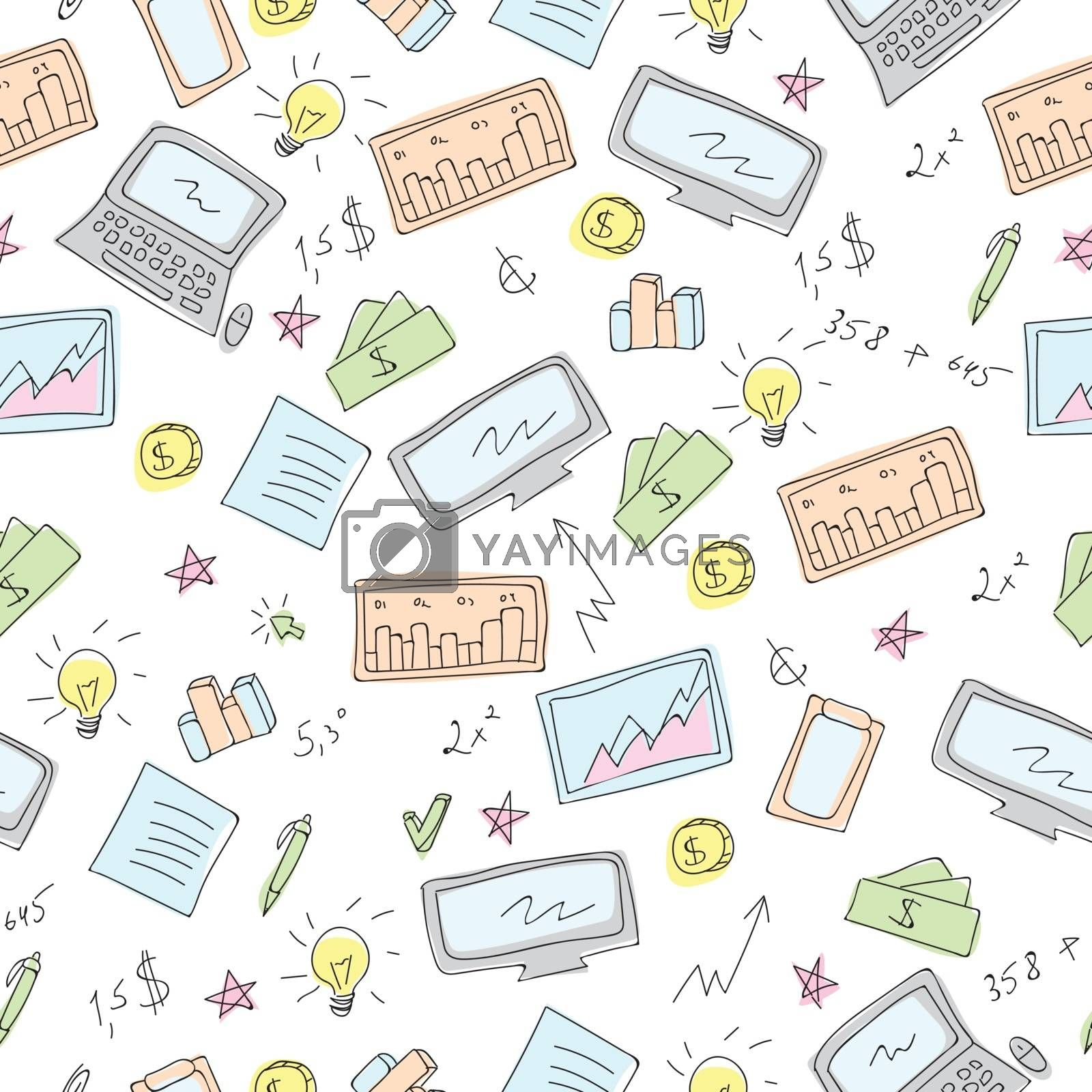 Financial and Business symbols Doodles Vector Seamless pattern