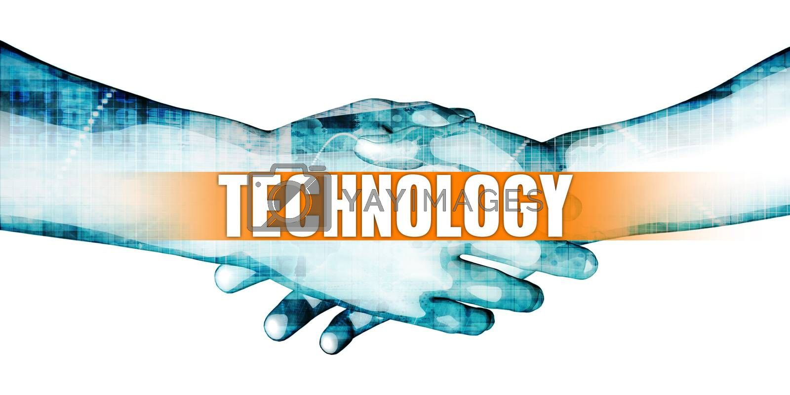 Technology Concept with Businessmen Handshake on White Background