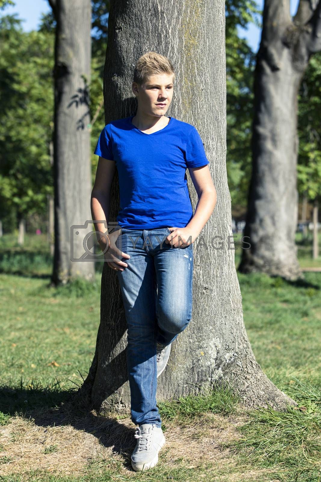 Teenager in a park on summer