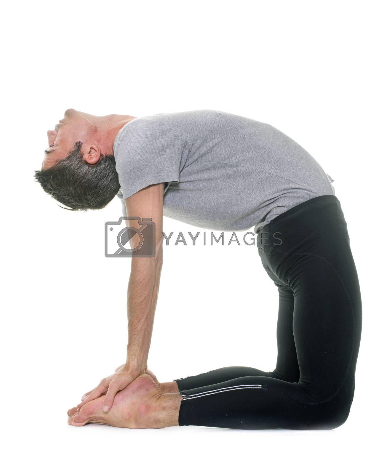 yoga man in front of white background