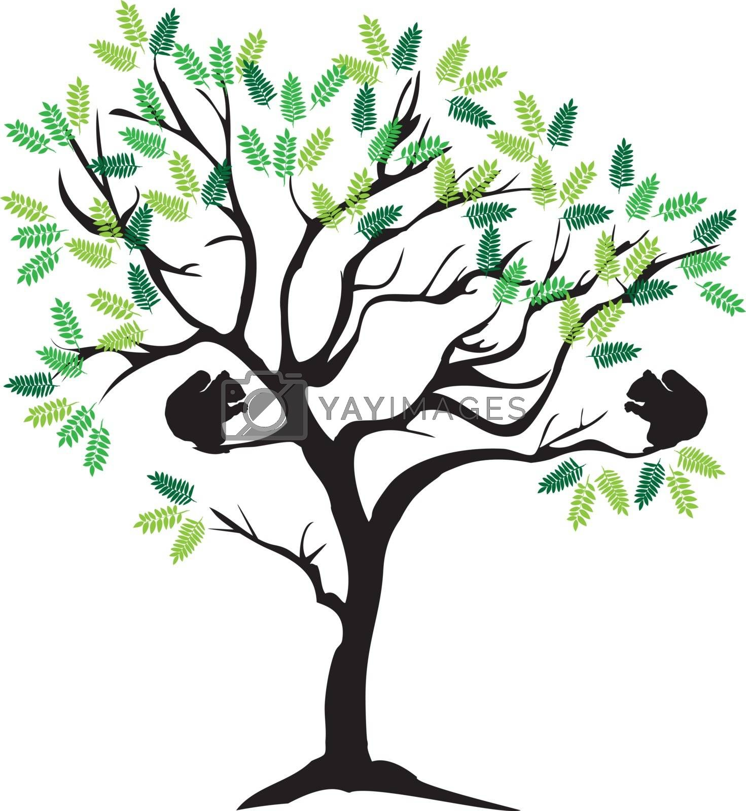 vector illustration of a tree with green leaves and squirrels