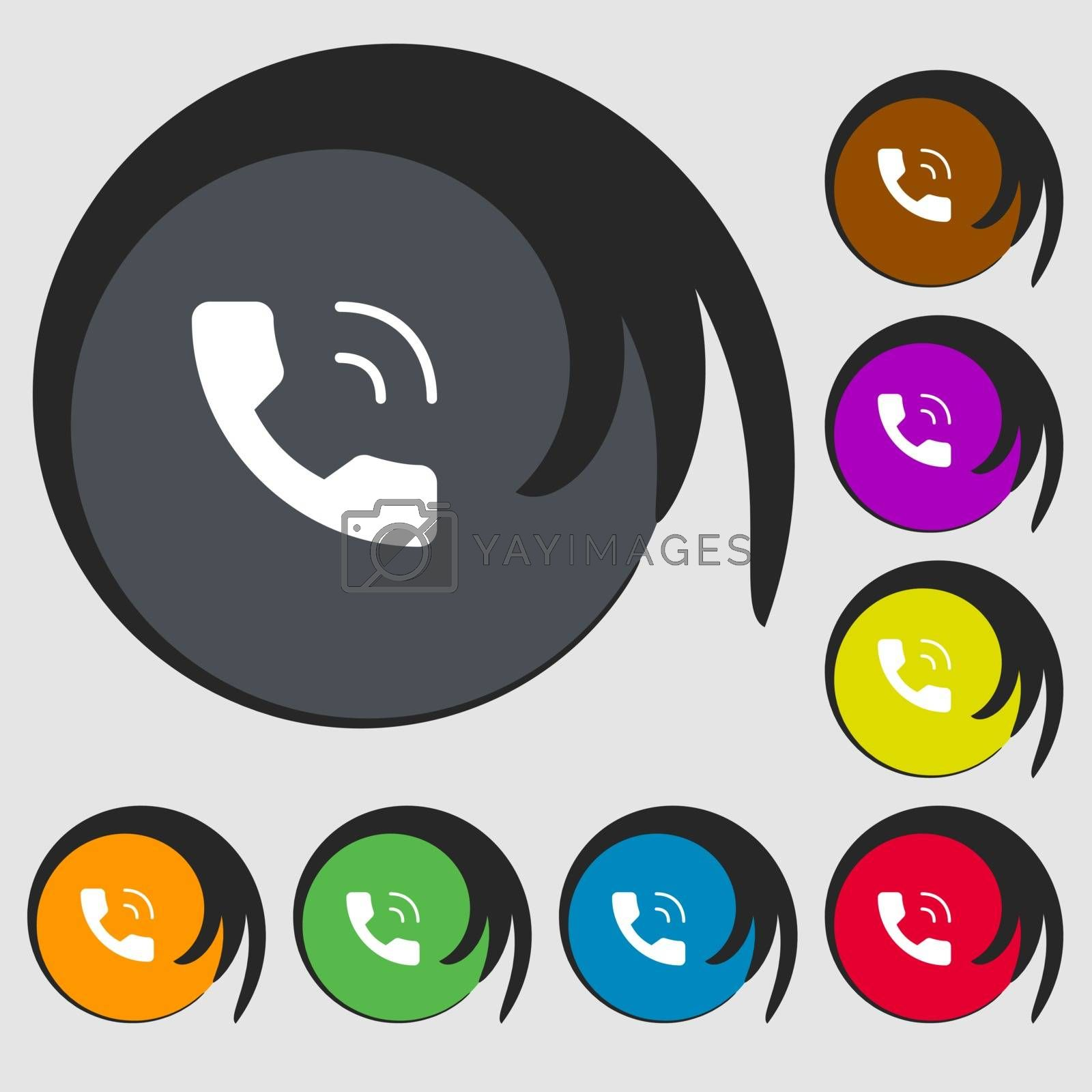 Phone icon sign. Symbols on eight colored buttons. Vector illustration