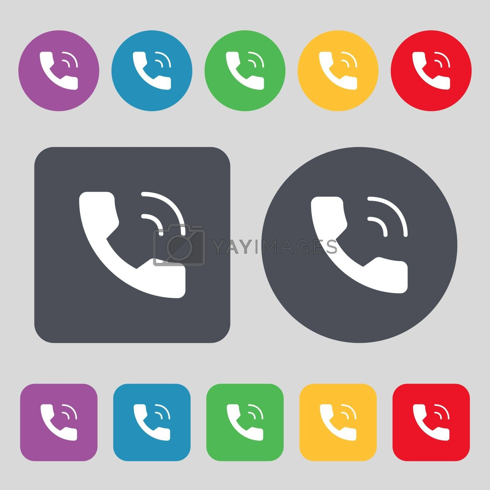 Phone icon sign. A set of 12 colored buttons. Flat design. Vector illustration
