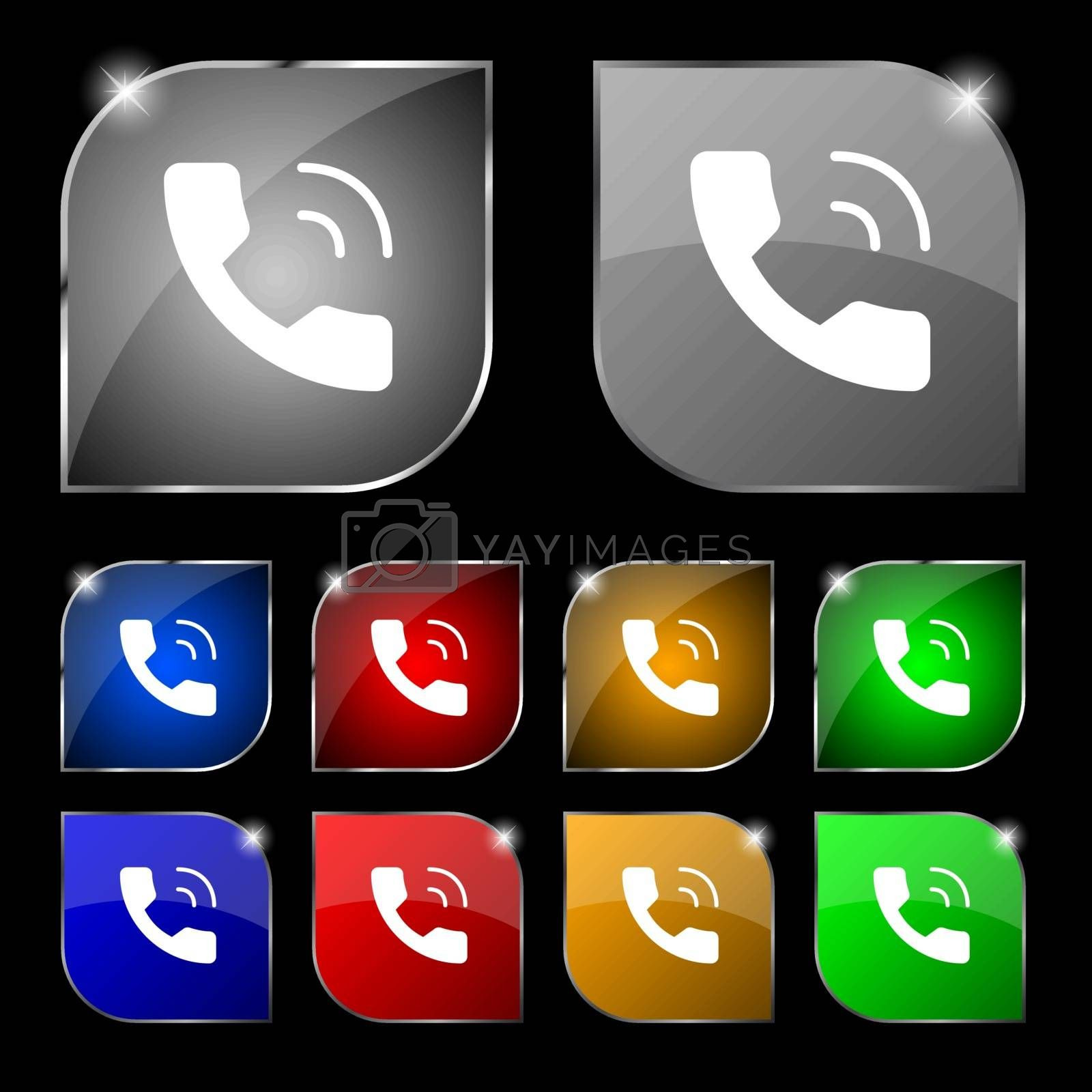 Phone icon sign. Set of ten colorful buttons with glare. Vector illustration