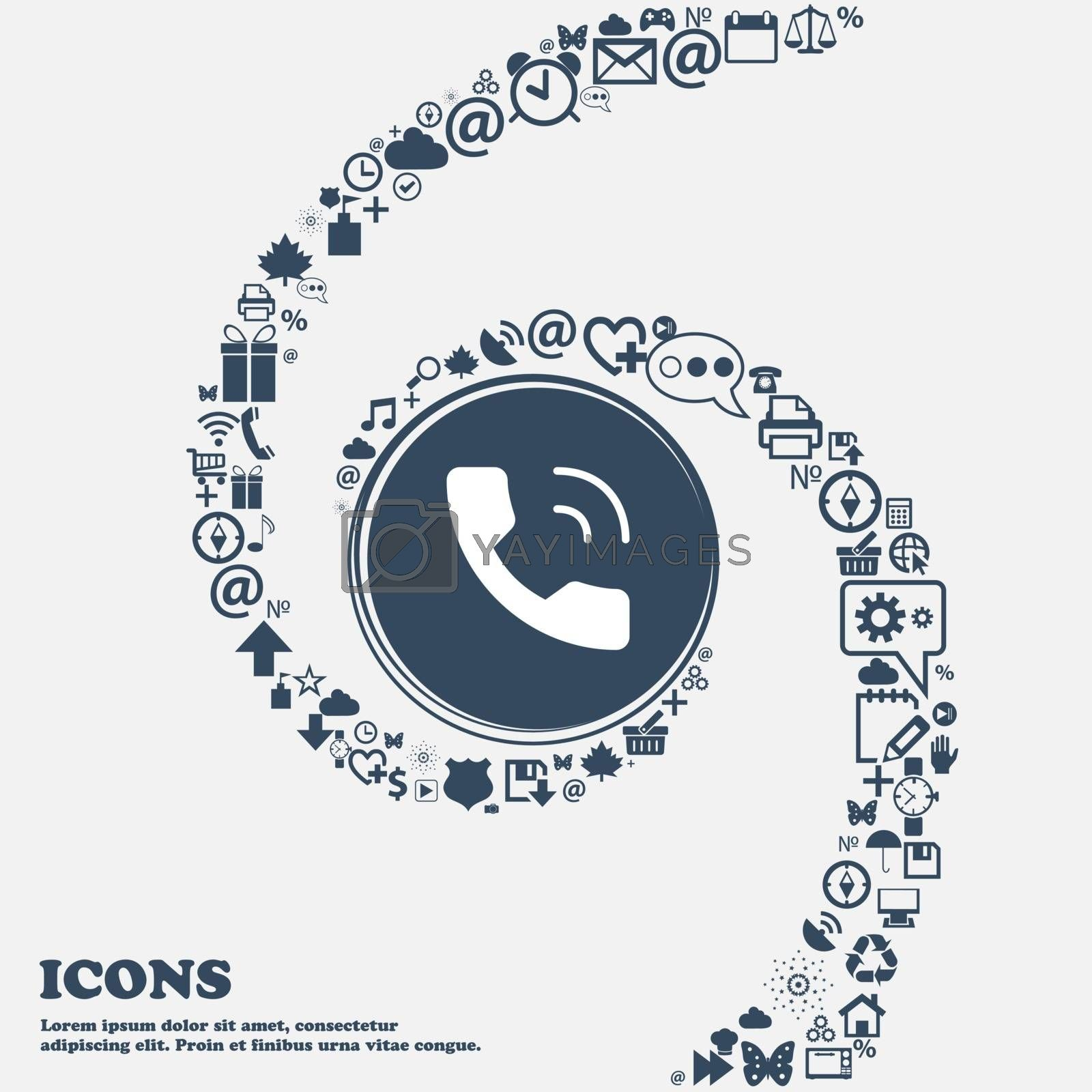 Phone icon in the center. Around the many beautiful symbols twisted in a spiral. You can use each separately for your design. Vector illustration