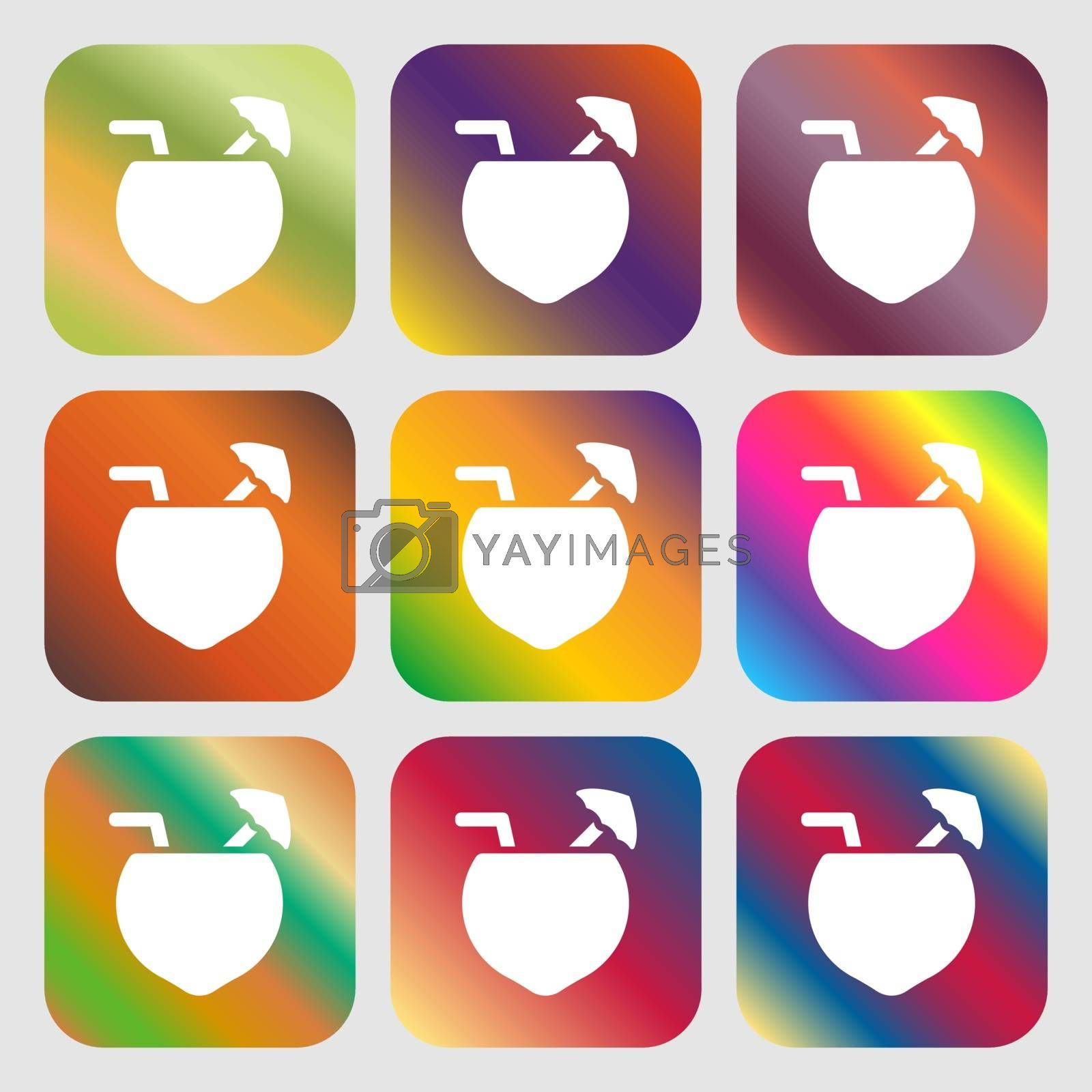 Coconut Cocktail icon sign. Nine buttons with bright gradients for beautiful design. Vector illustration