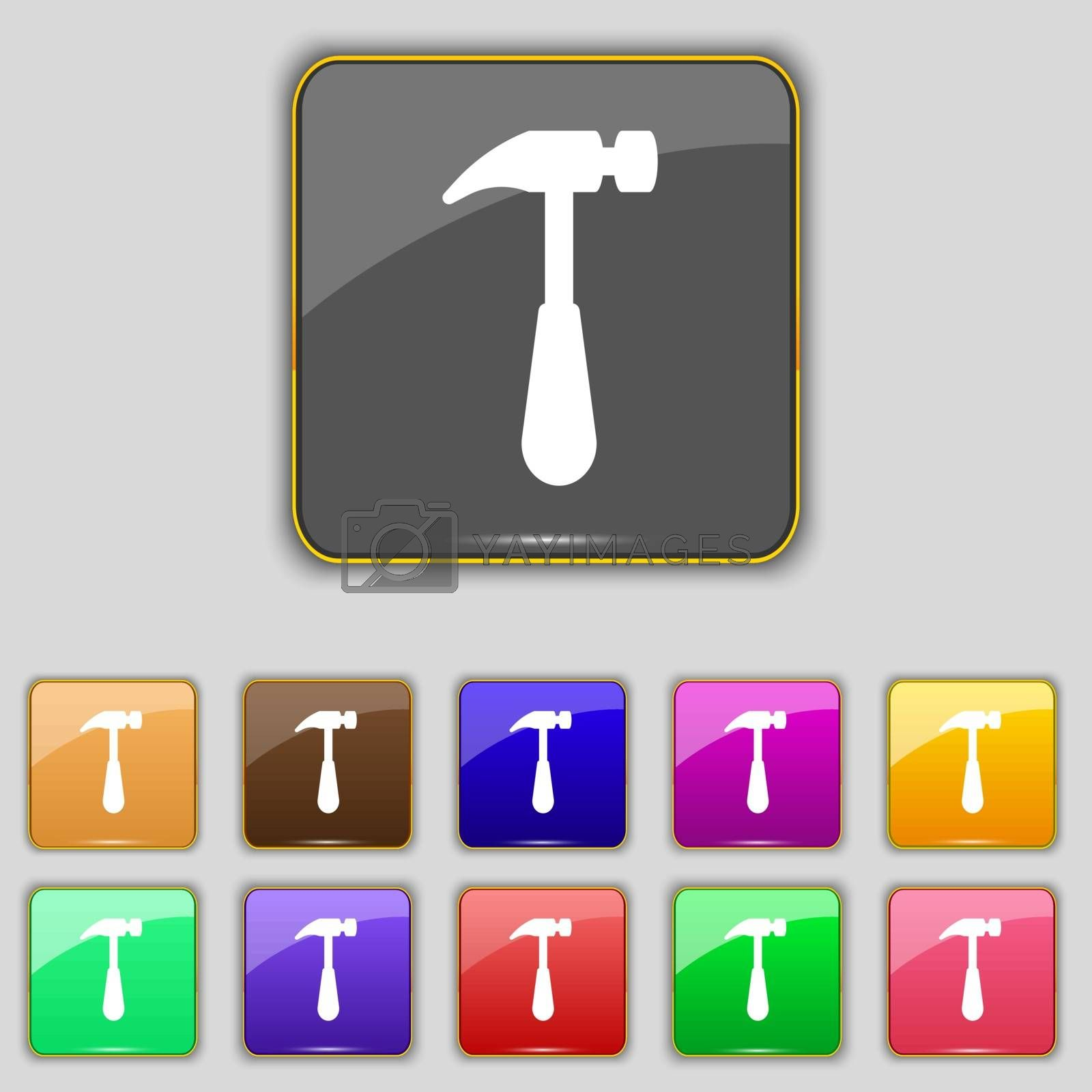 Hammer icon sign. Set with eleven colored buttons for your site. Vector illustration