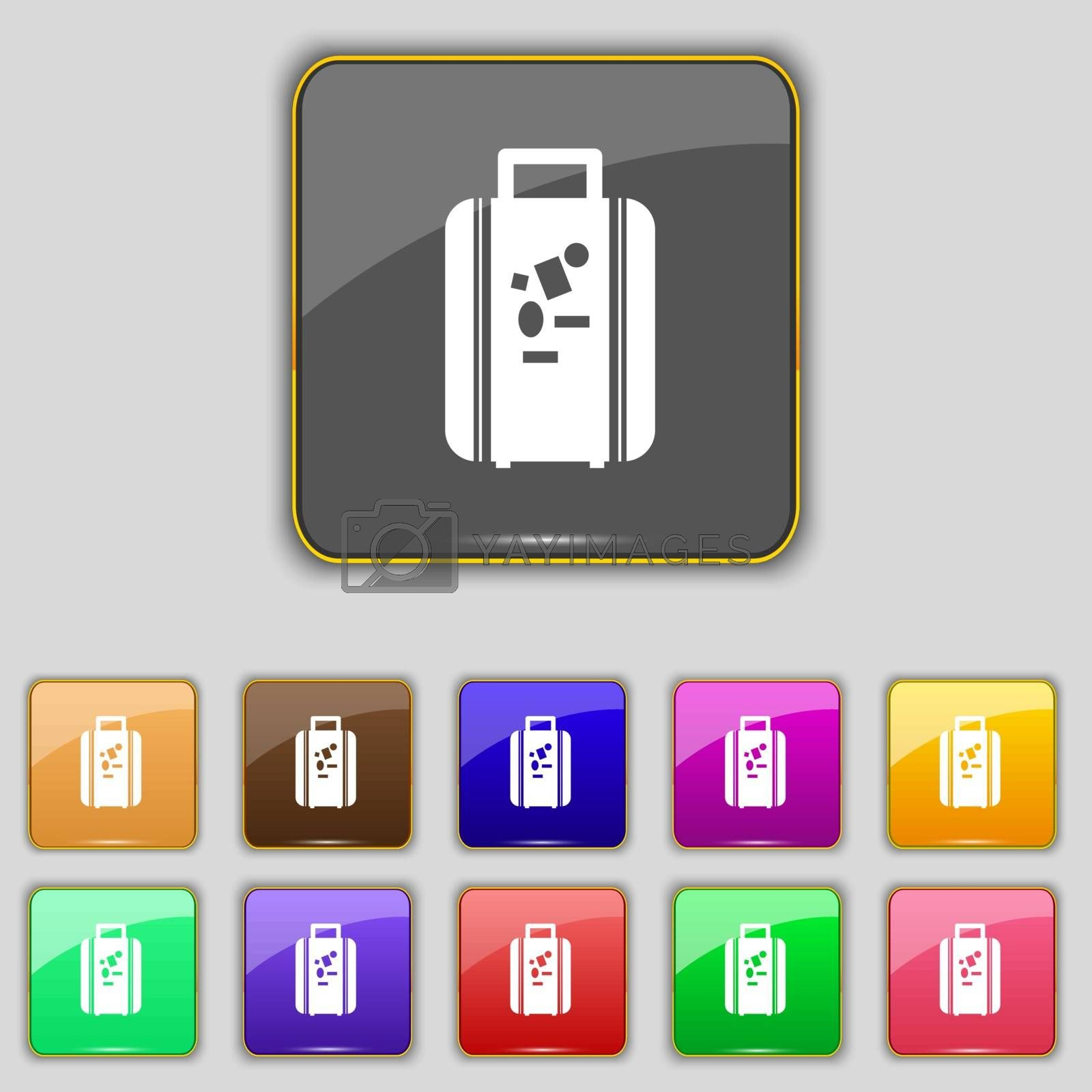 travel luggage suitcase icon sign. Set with eleven colored buttons for your site. Vector illustration