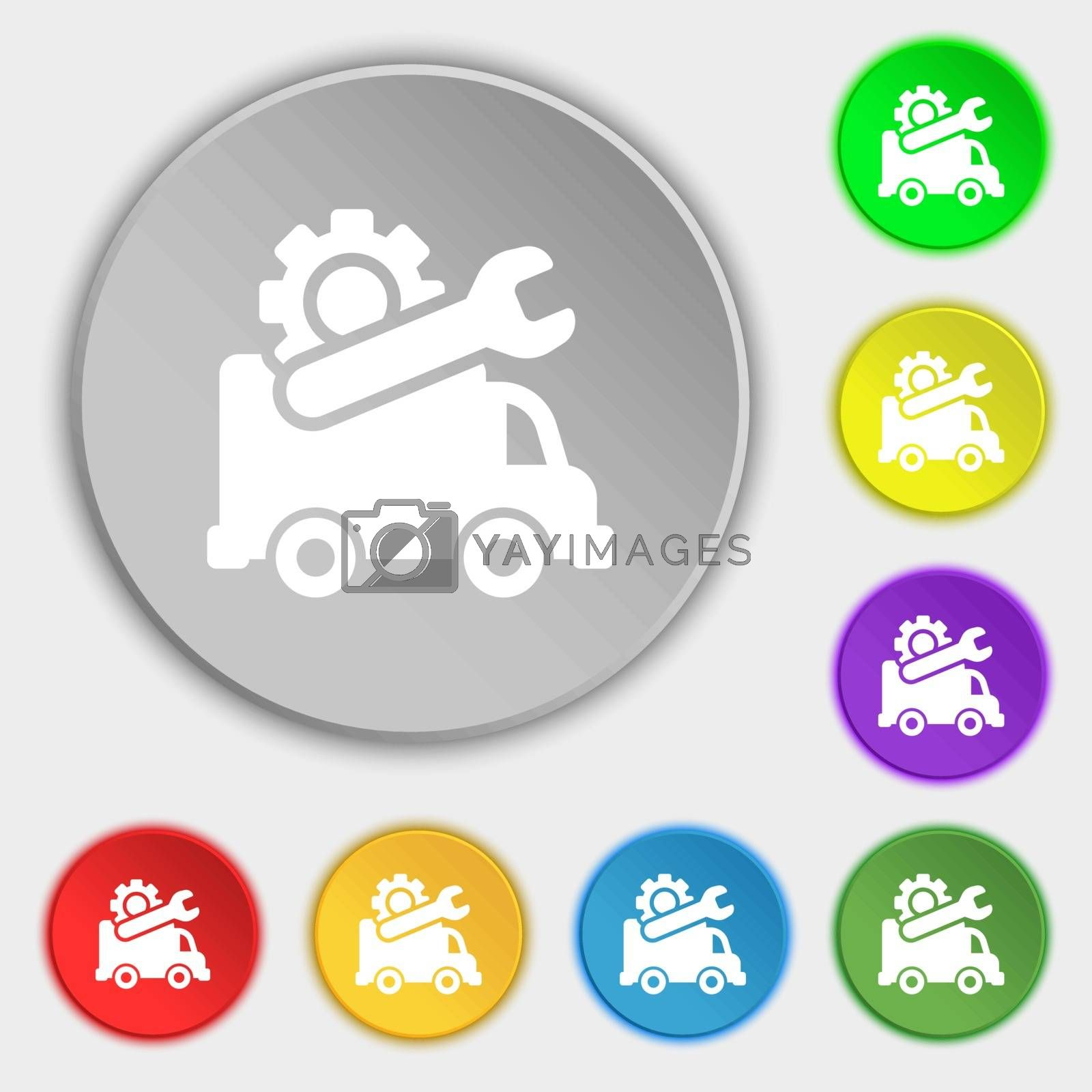 Computer repairs icon sign. Symbol on eight flat buttons. Vector illustration