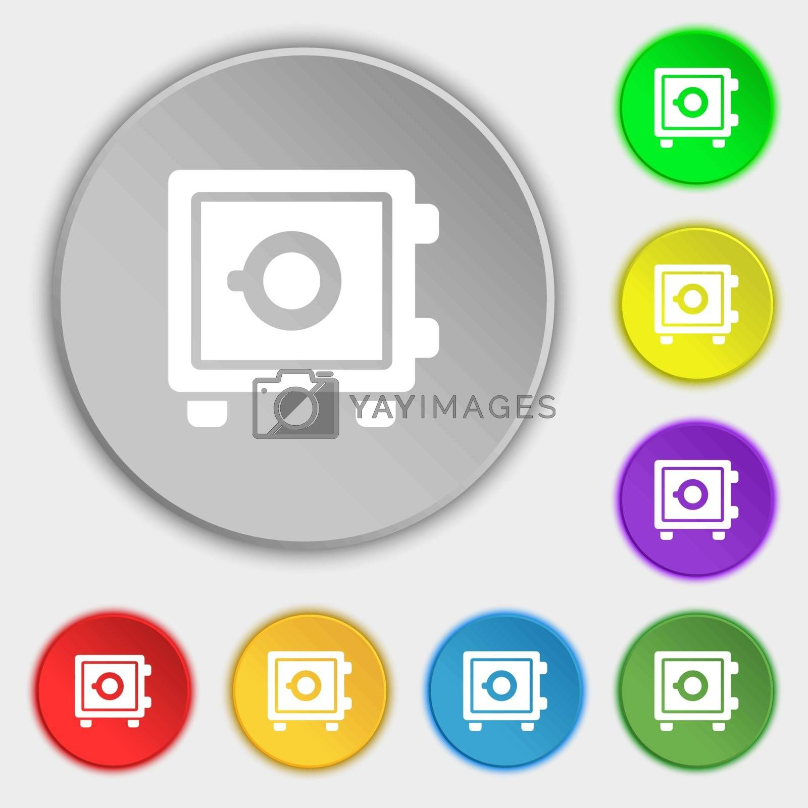 Safe icon sign. Symbol on eight flat buttons. Vector illustration
