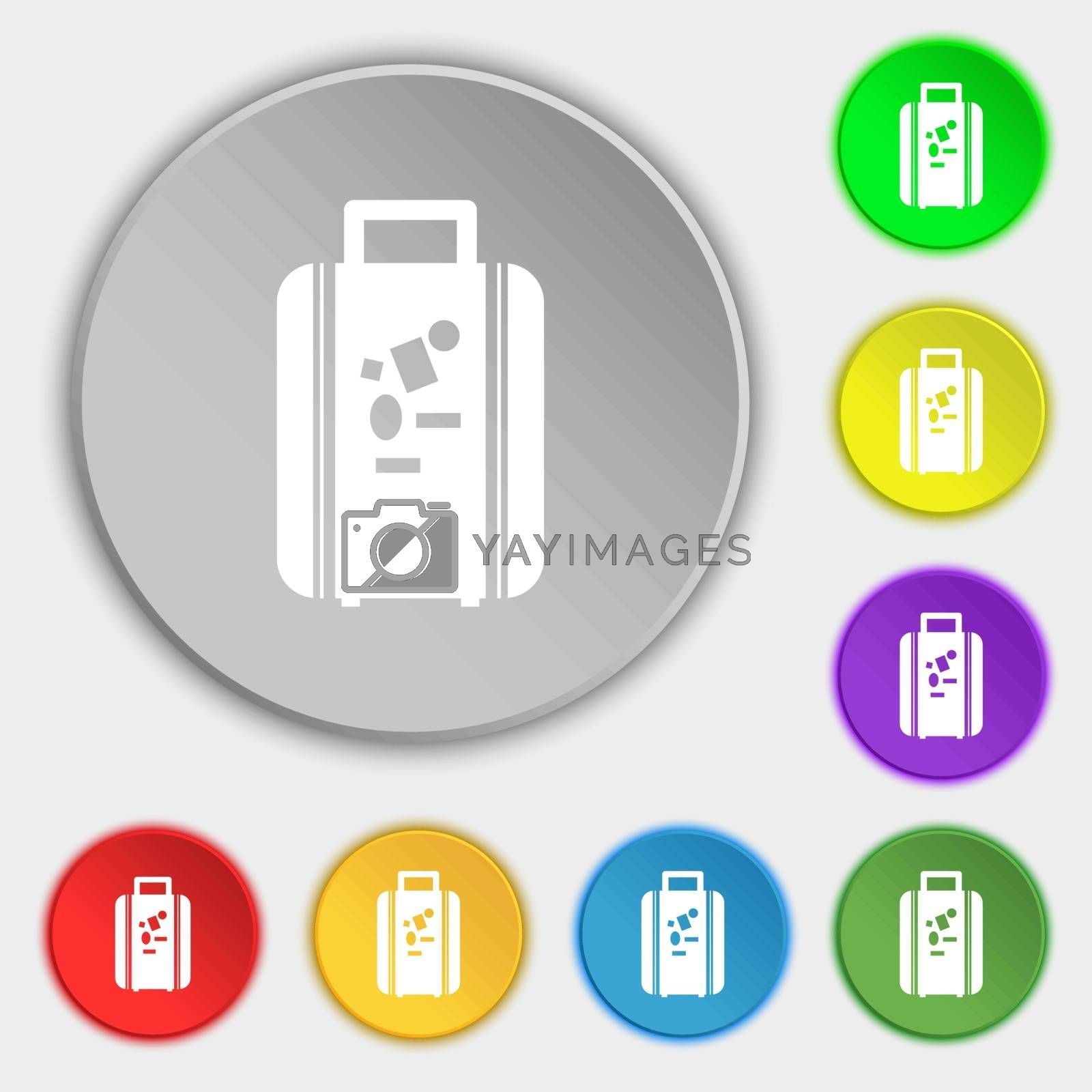 travel luggage suitcase icon sign. Symbol on eight flat buttons. Vector illustration