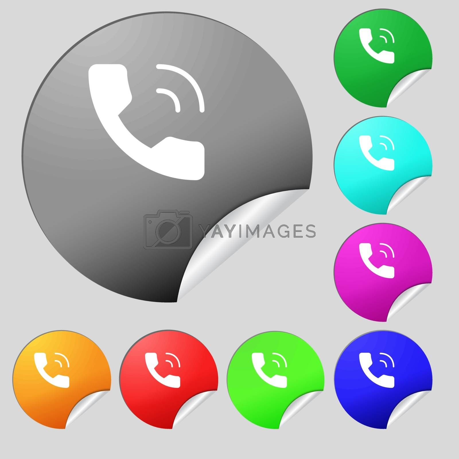 Phone icon sign. Set of eight multi colored round buttons, stickers. Vector illustration