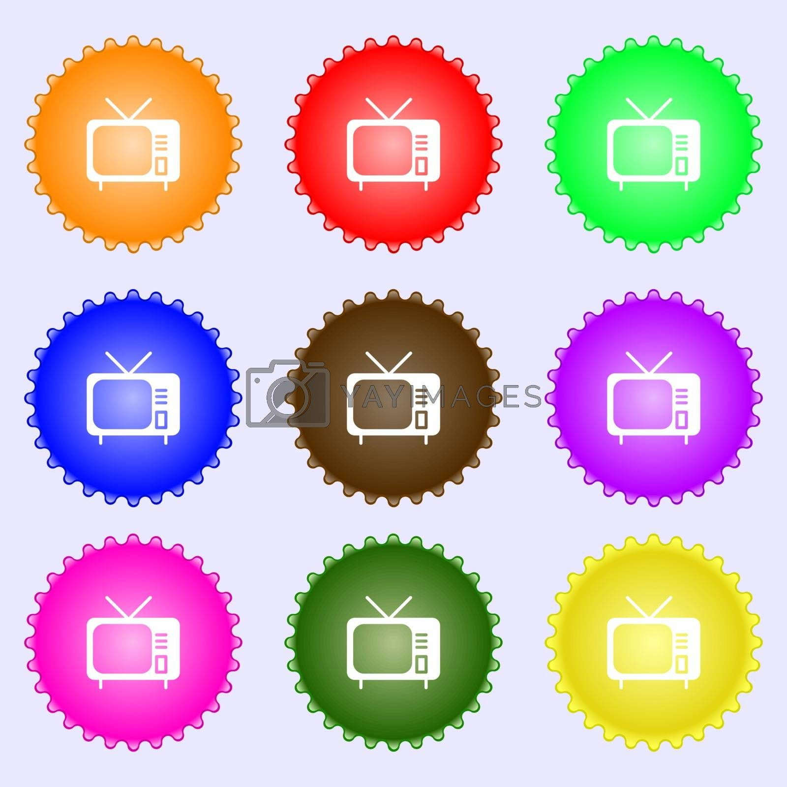 tv icon sign. Big set of colorful, diverse, high-quality buttons. Vector illustration
