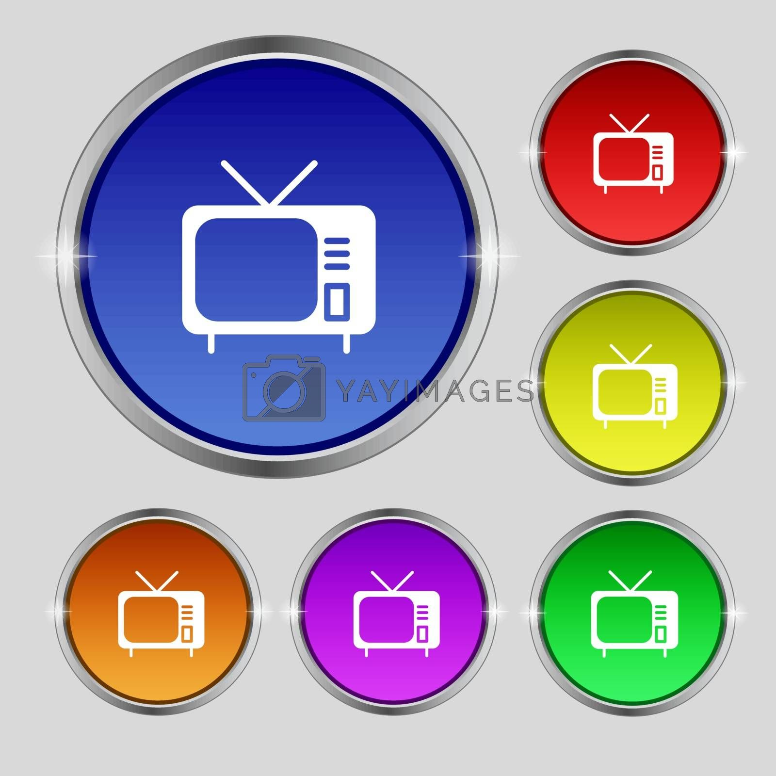 tv icon sign. Round symbol on bright colourful buttons. Vector illustration