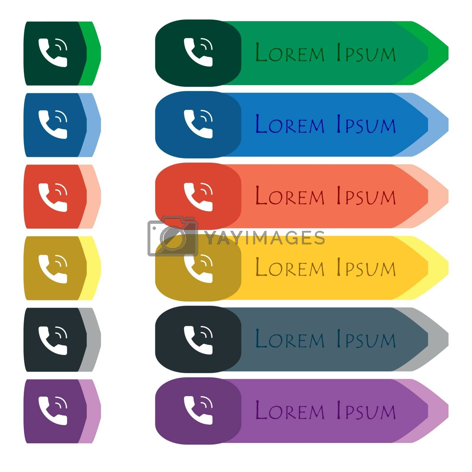 Phone icon sign. Set of colorful, bright long buttons with additional small modules. Flat design. Vector