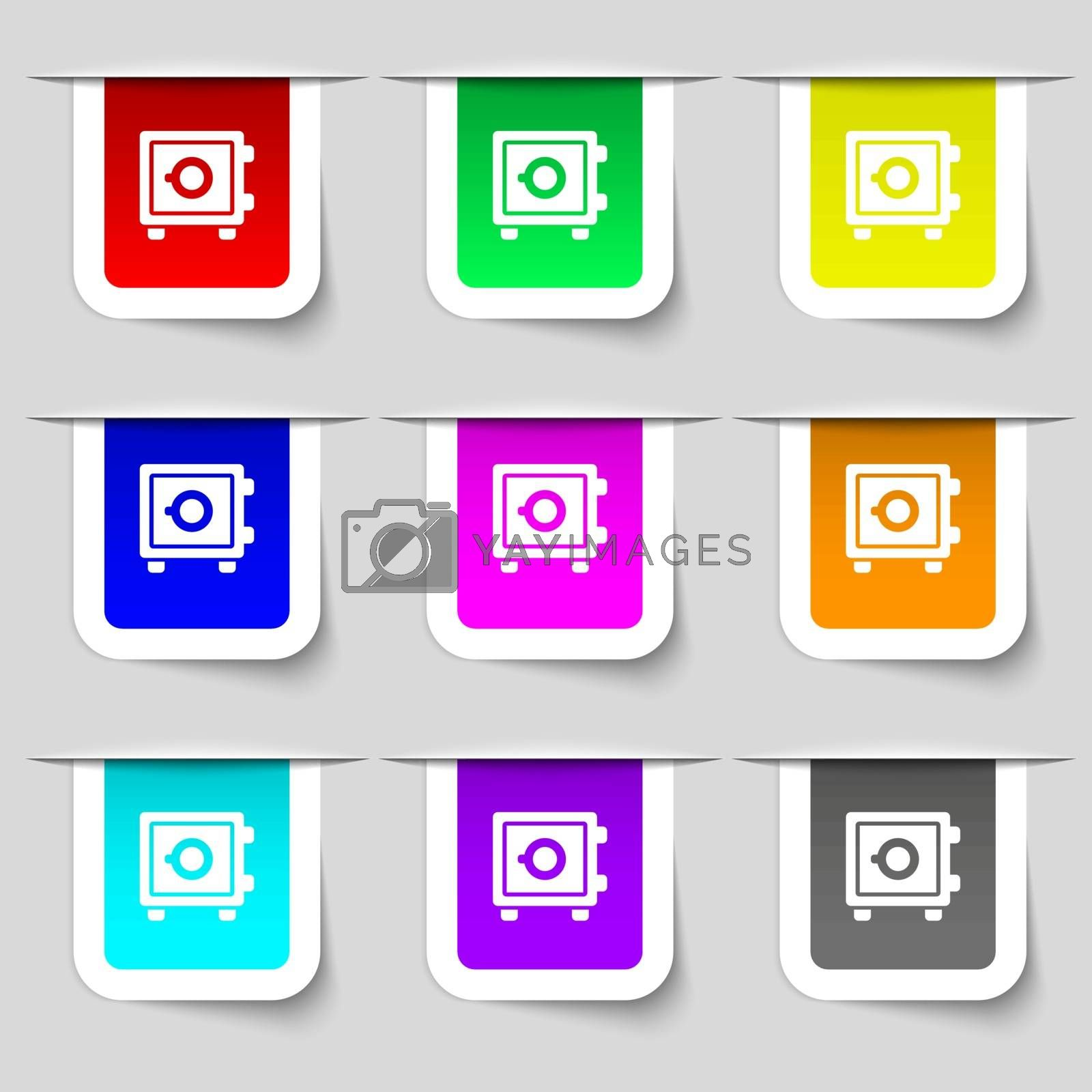 Safe icon sign. Set of multicolored modern labels for your design. Vector illustration