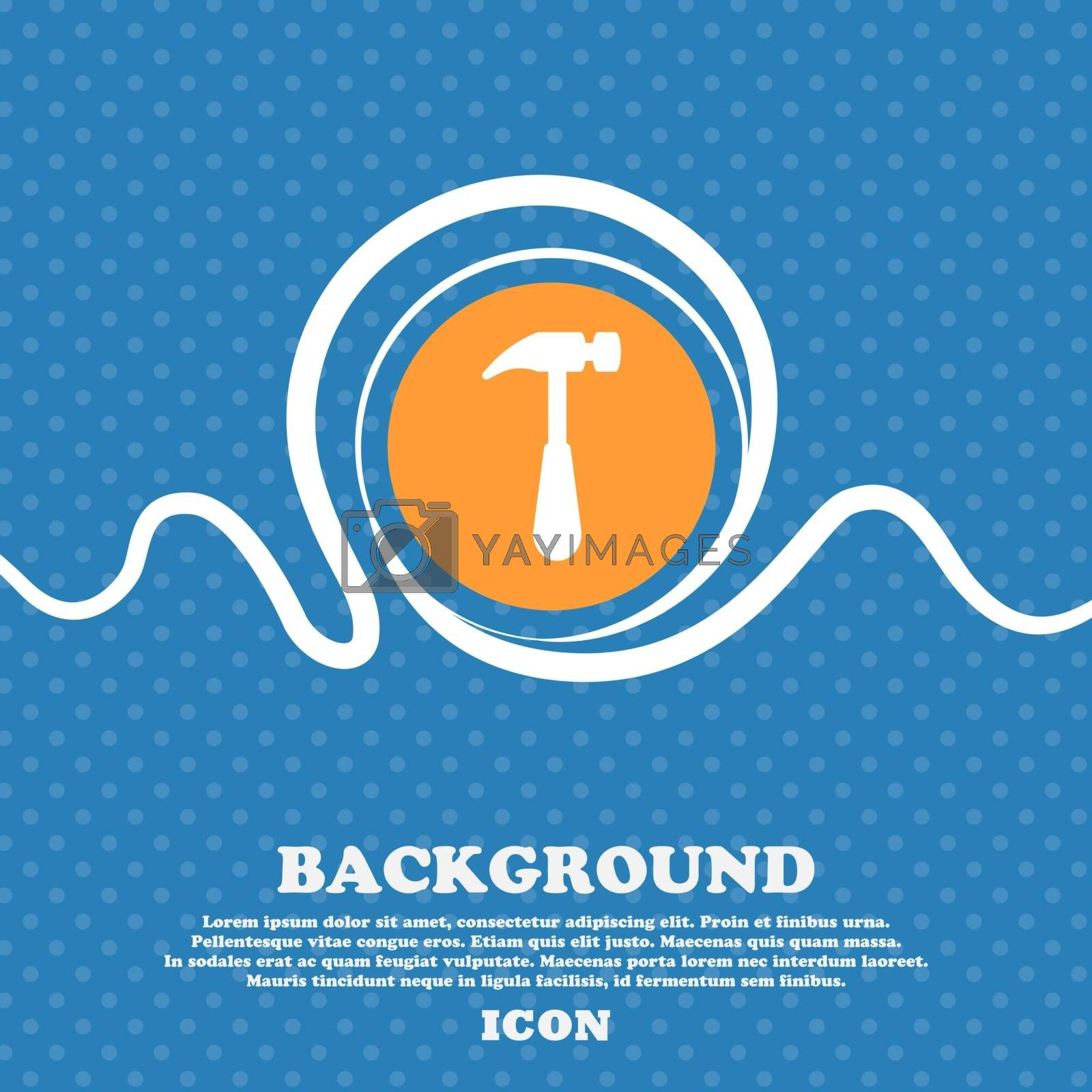 Hammer icon sign. Blue and white abstract background flecked with space for text and your design. Vector illustration