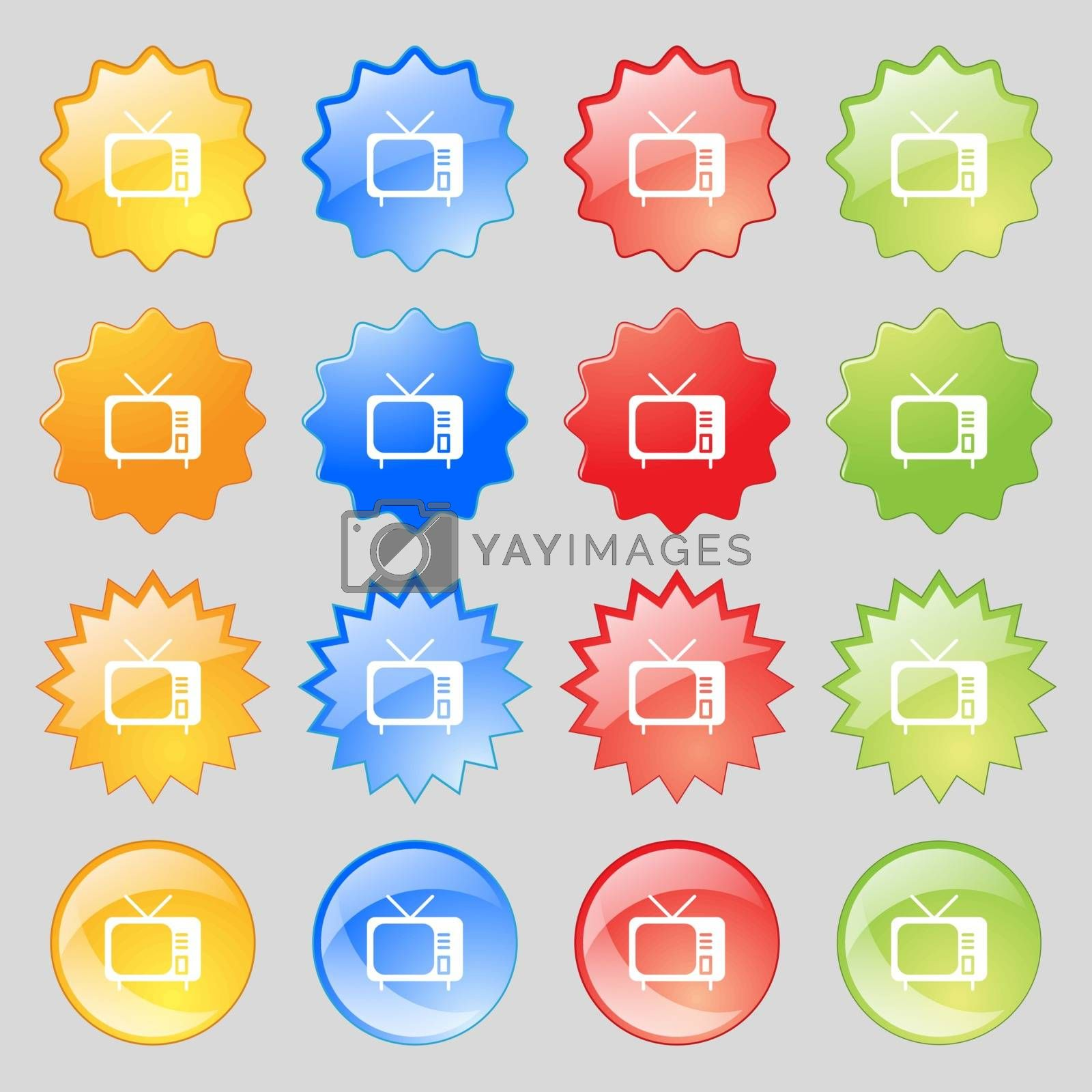 tv icon sign. Big set of 16 colorful modern buttons for your design. Vector illustration