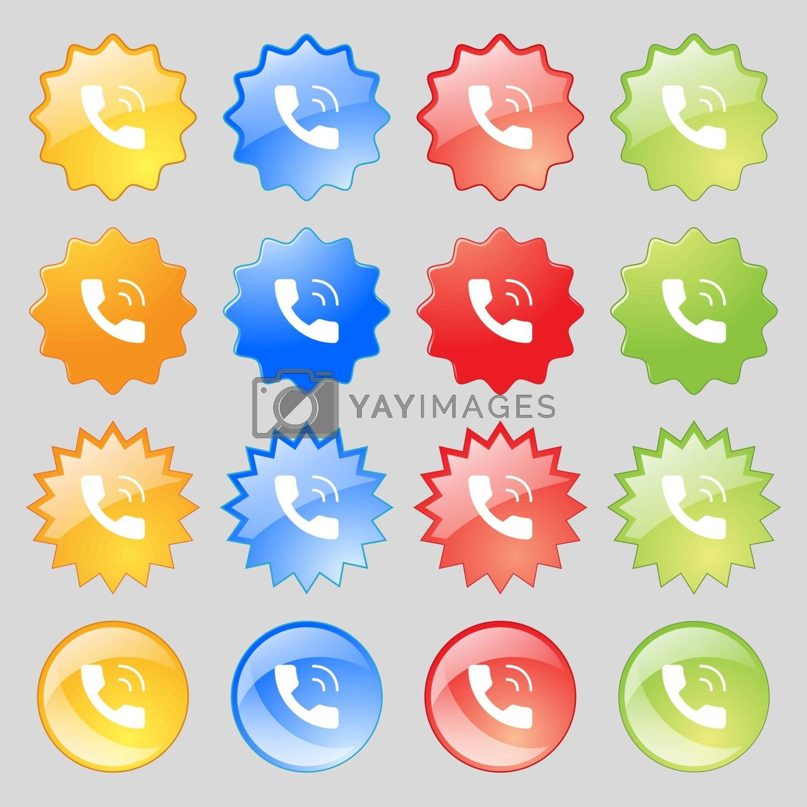 Phone icon sign. Big set of 16 colorful modern buttons for your design. Vector illustration
