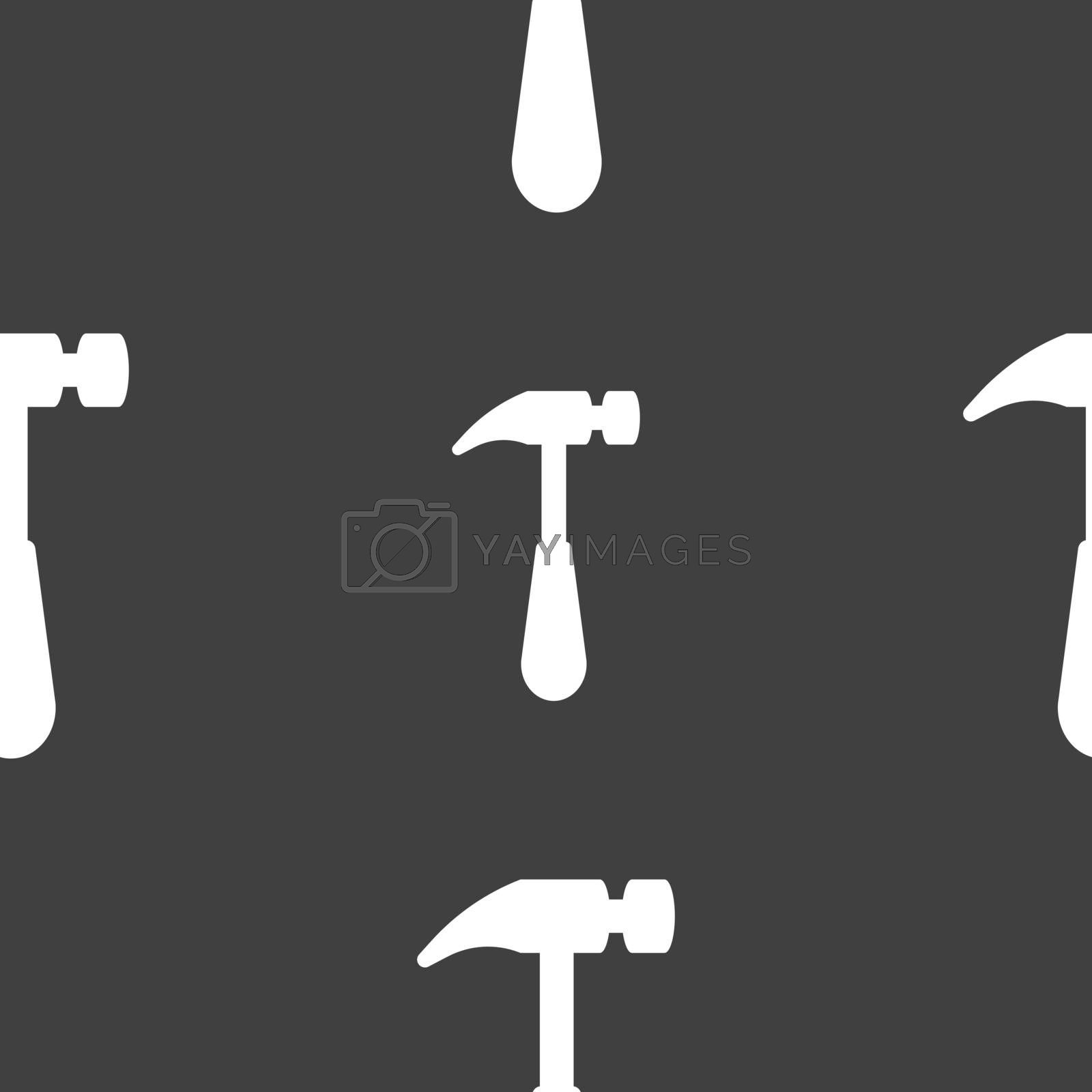 Hammer icon sign. Seamless pattern on a gray background. Vector illustration