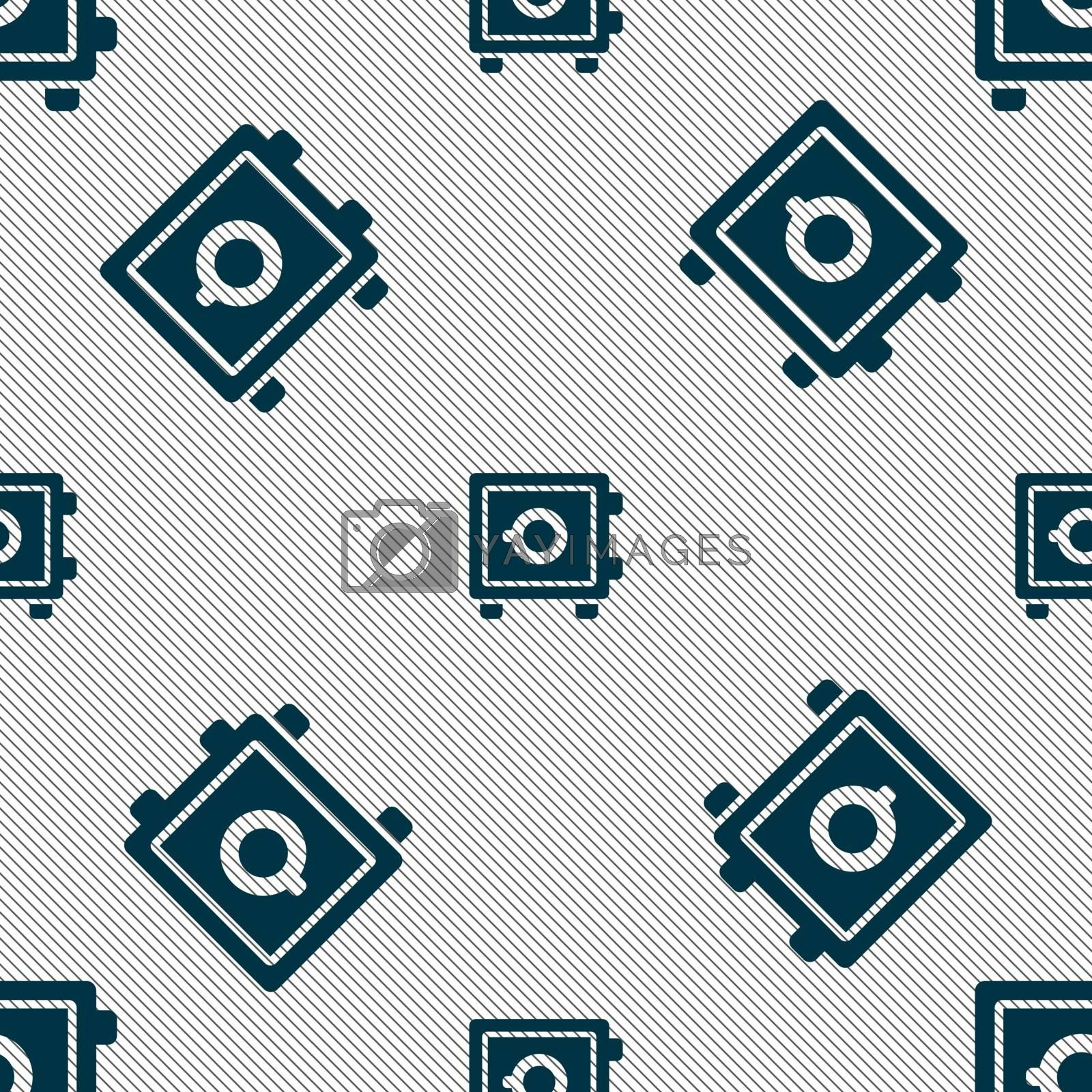 Safe icon sign. Seamless pattern with geometric texture. Vector illustration
