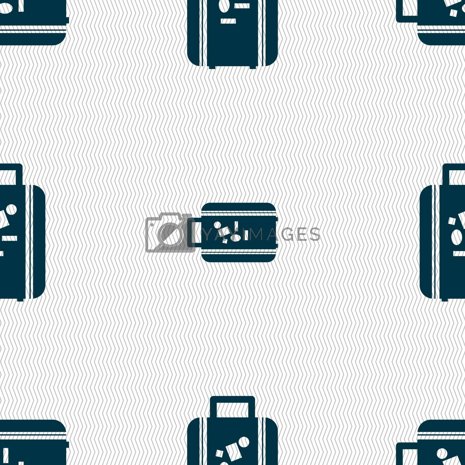 travel luggage suitcase icon sign. Seamless pattern with geometric texture. Vector illustration