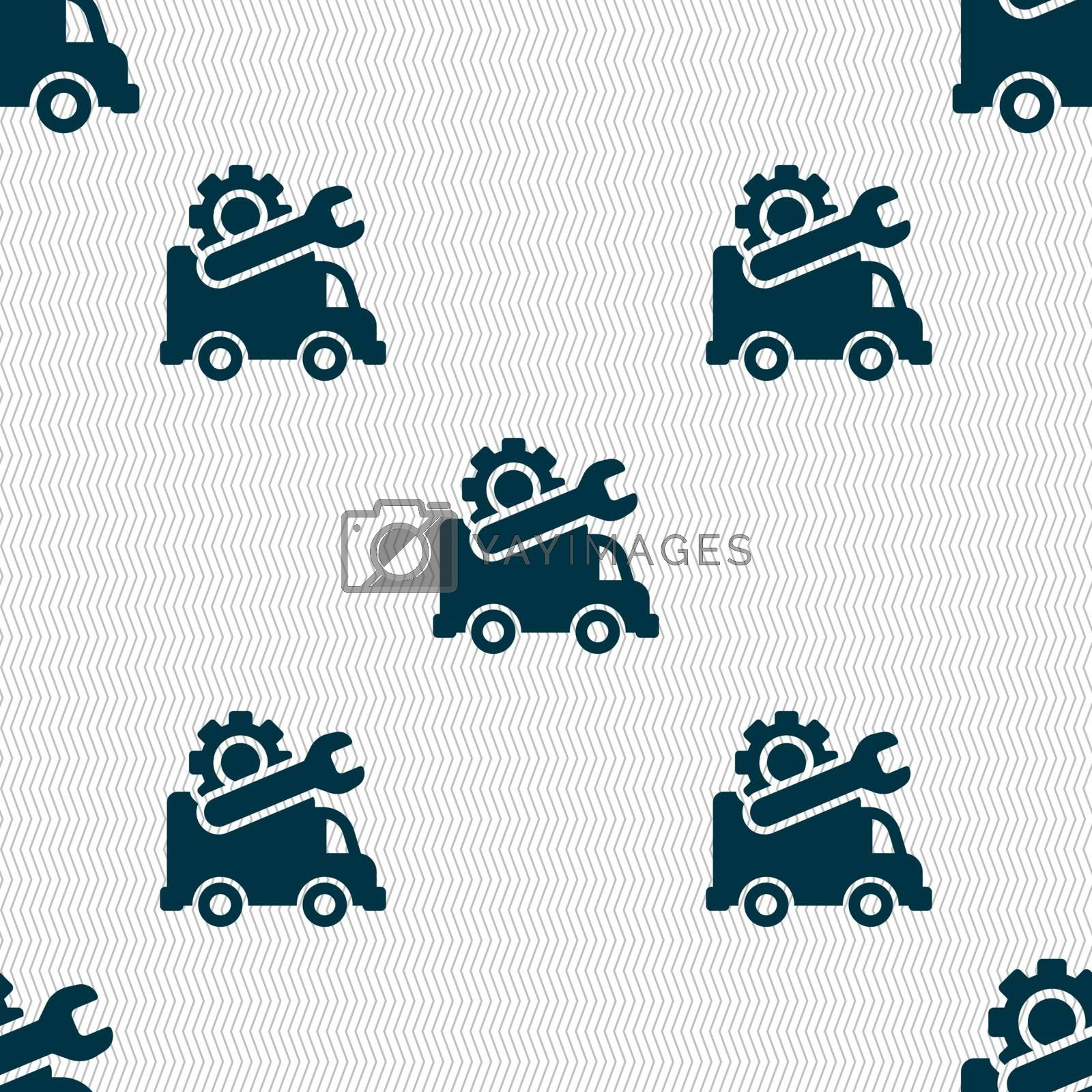 Computer repairs icon sign. Seamless pattern with geometric texture. Vector illustration