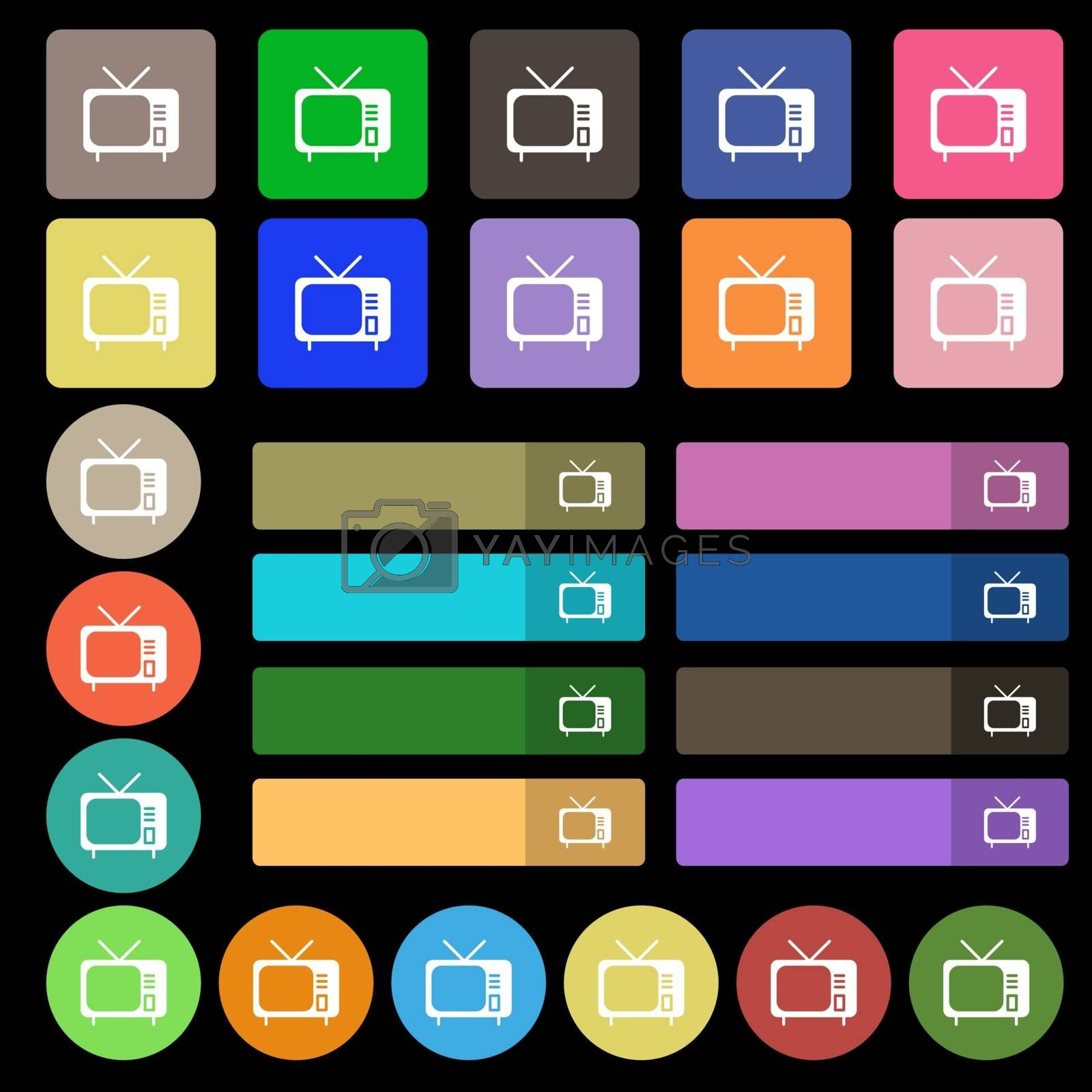 tv icon sign. Set from twenty seven multicolored flat buttons. Vector illustration