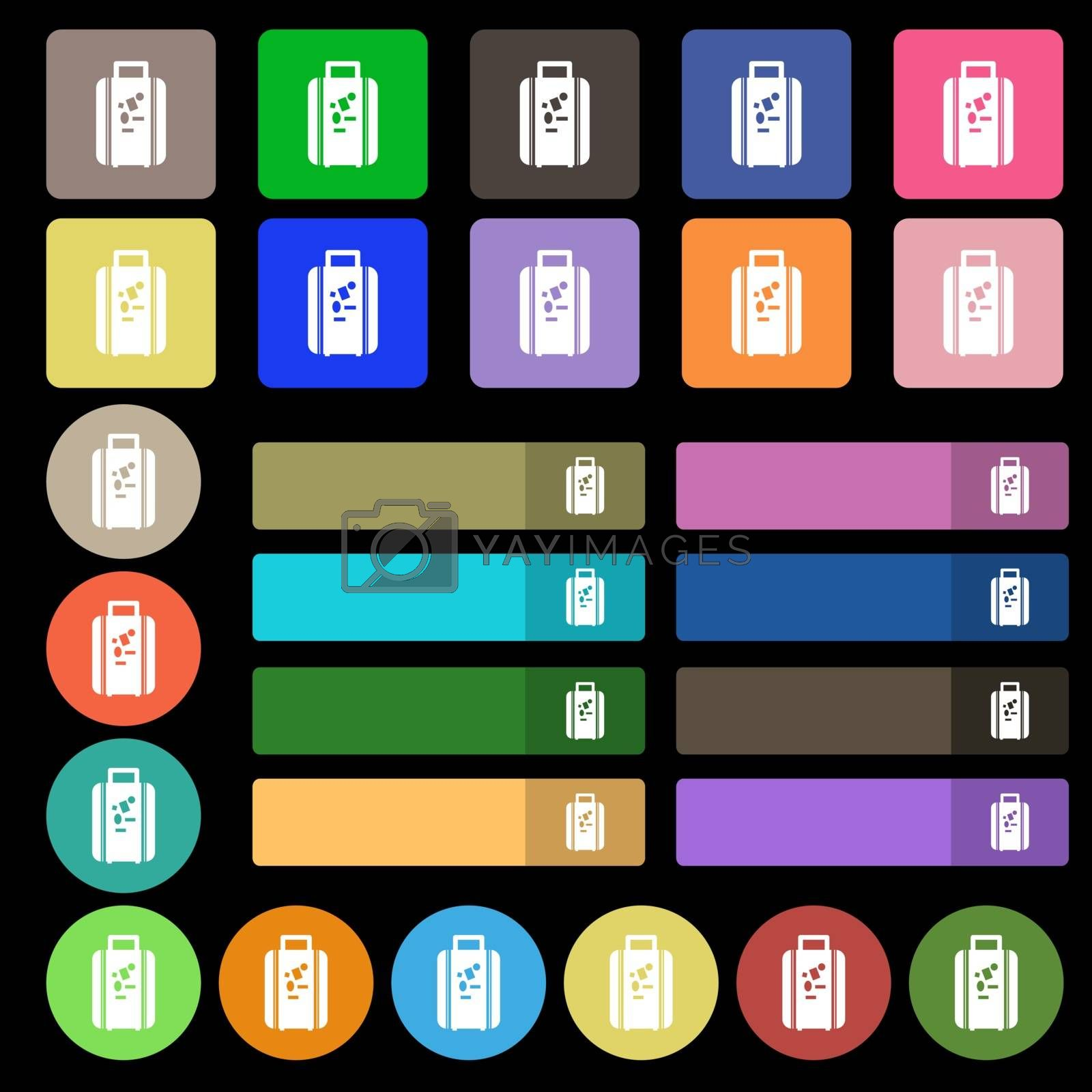 travel luggage suitcase icon sign. Set from twenty seven multicolored flat buttons. Vector illustration