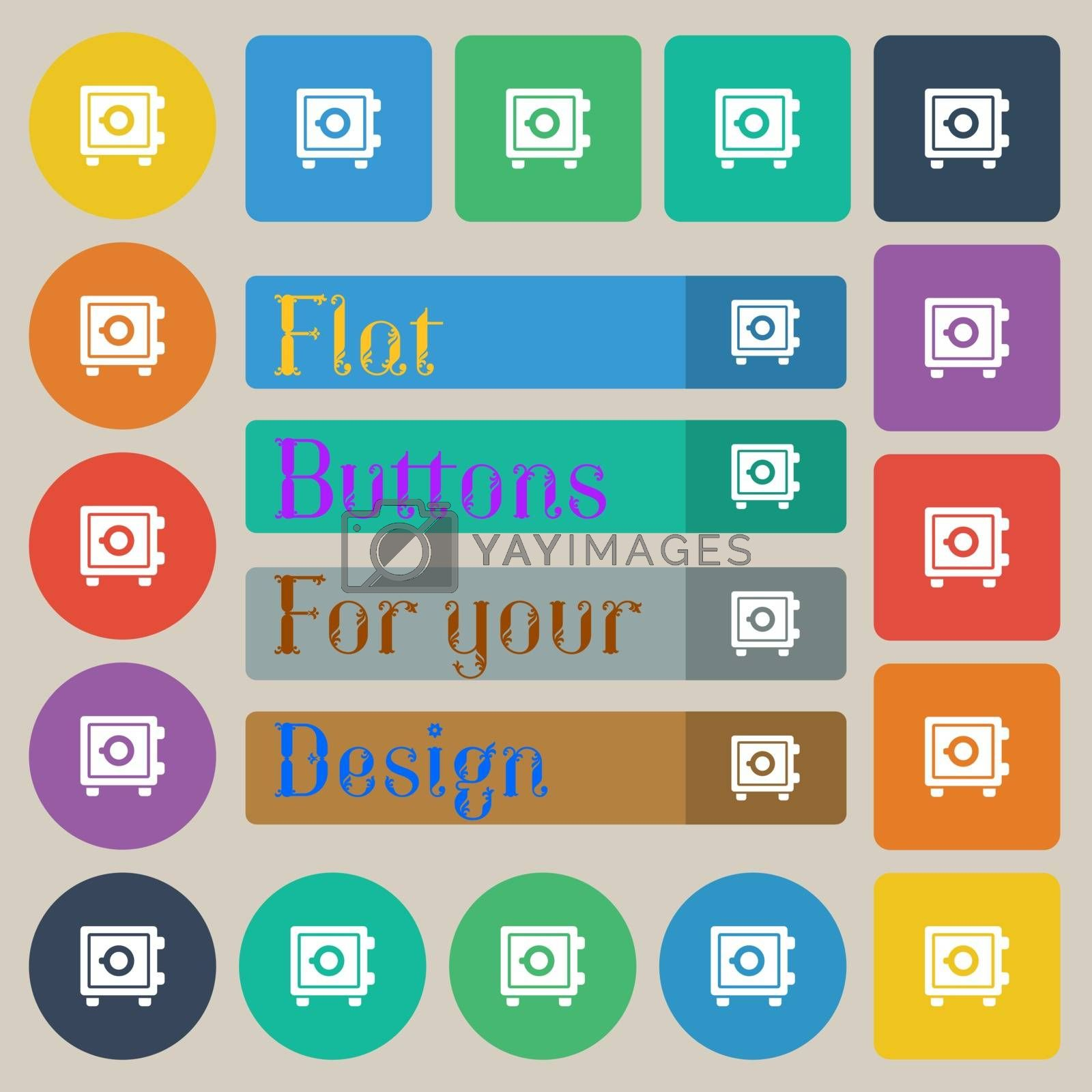 Safe icon sign. Set of twenty colored flat, round, square and rectangular buttons. Vector illustration