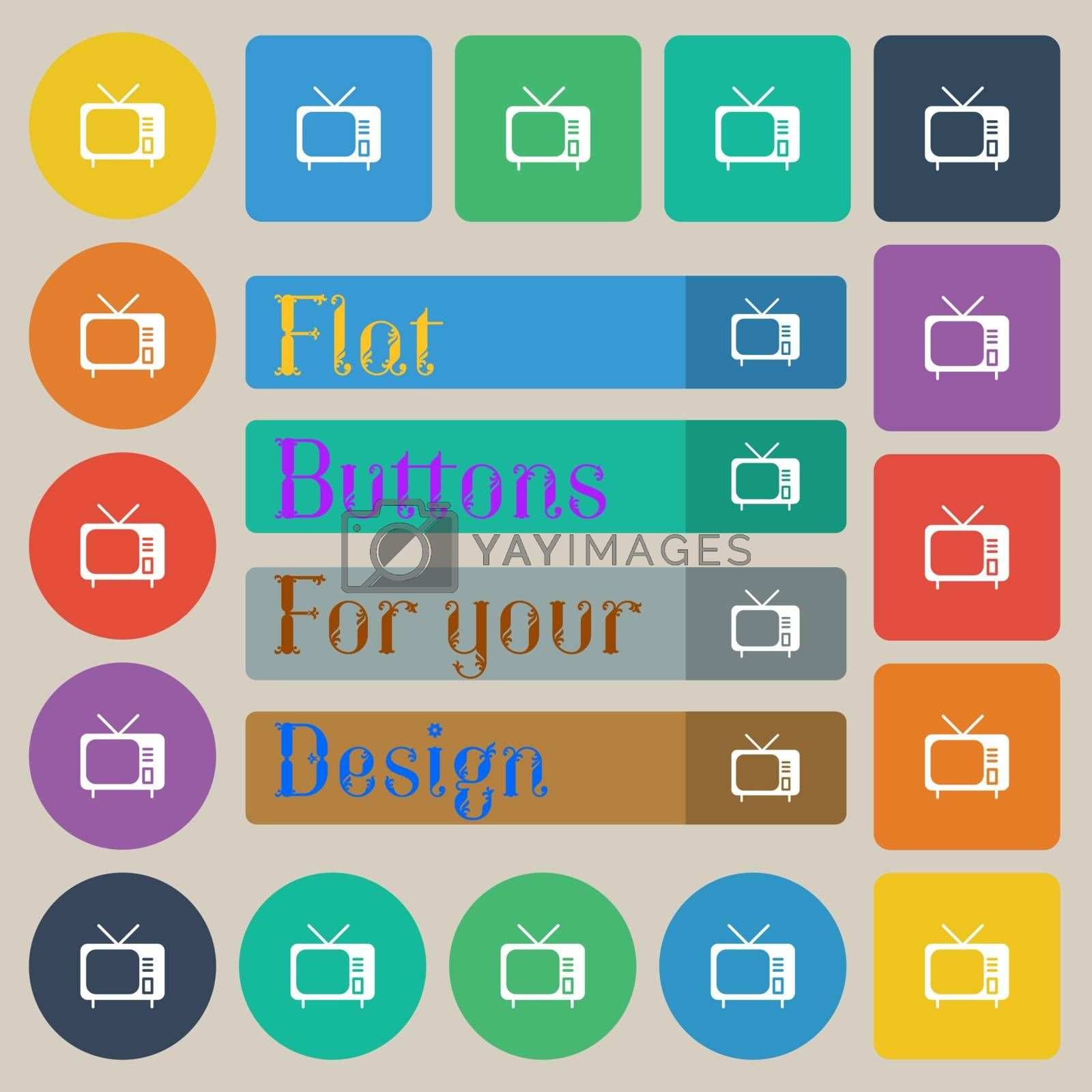 tv icon sign. Set of twenty colored flat, round, square and rectangular buttons. Vector illustration