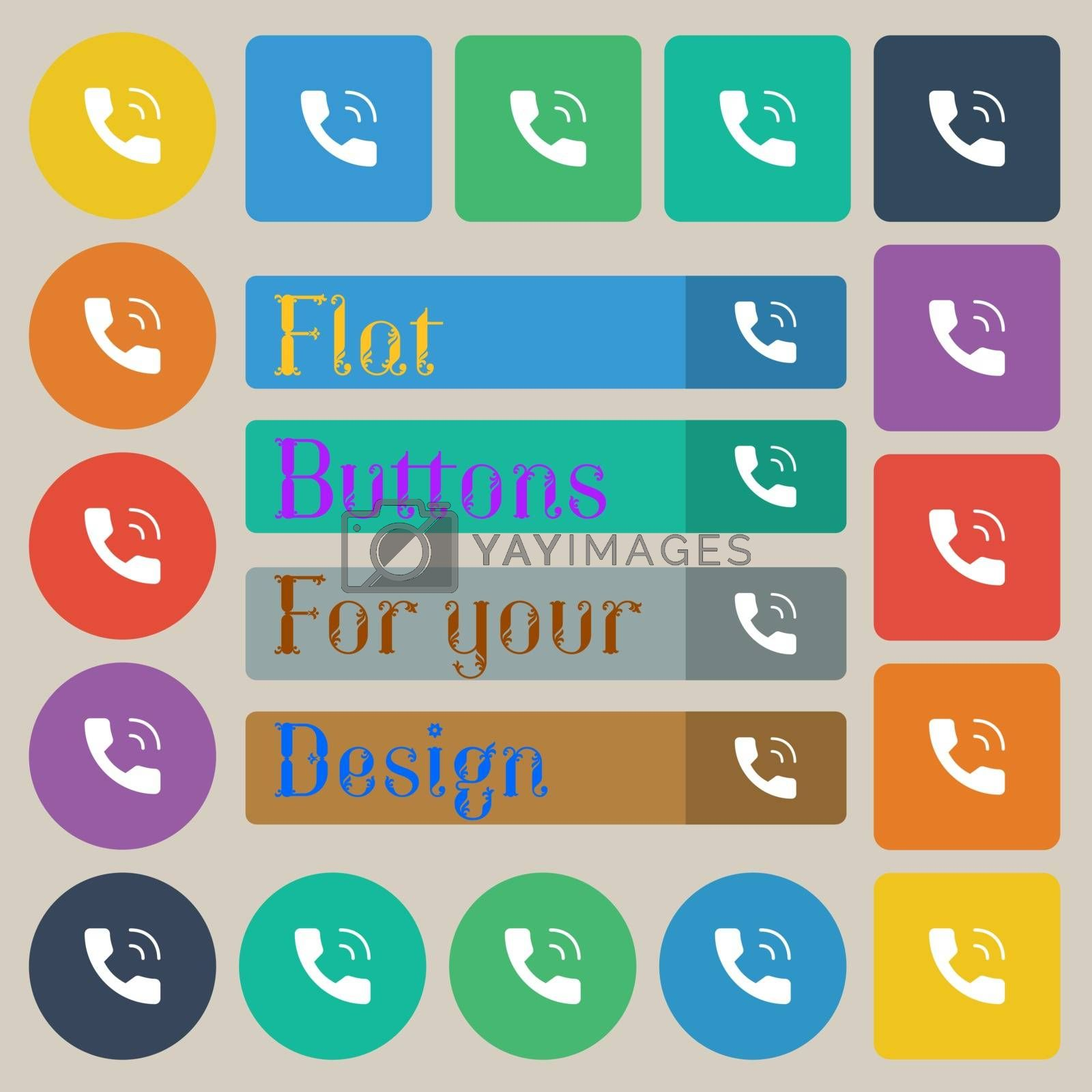 Phone icon sign. Set of twenty colored flat, round, square and rectangular buttons. Vector illustration
