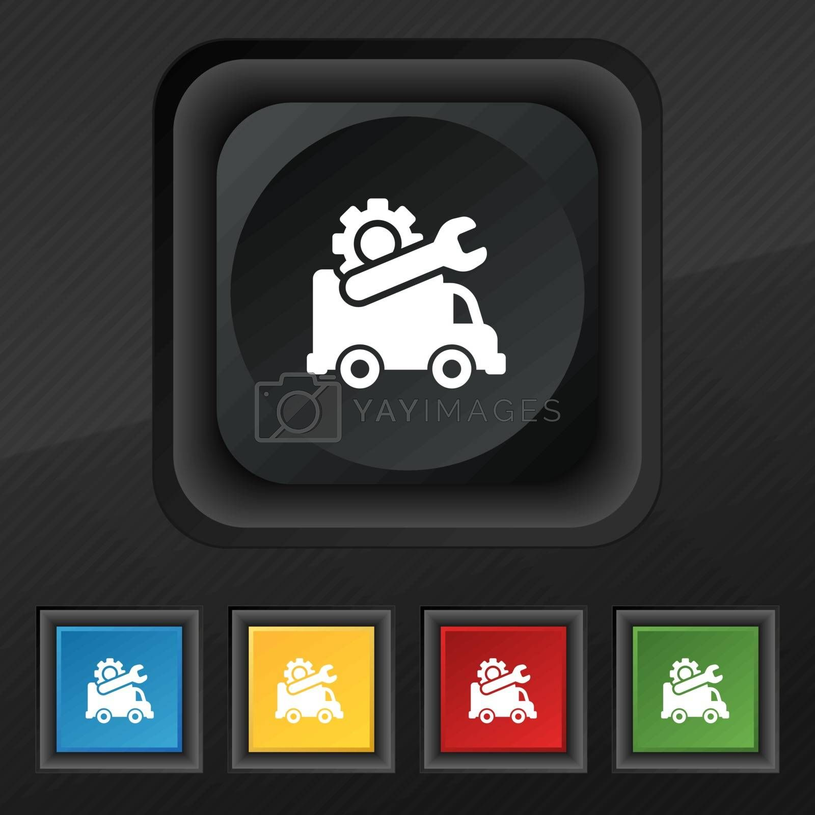 Computer repairs icon symbol. Set of five colorful, stylish buttons on black texture for your design. Vector illustration
