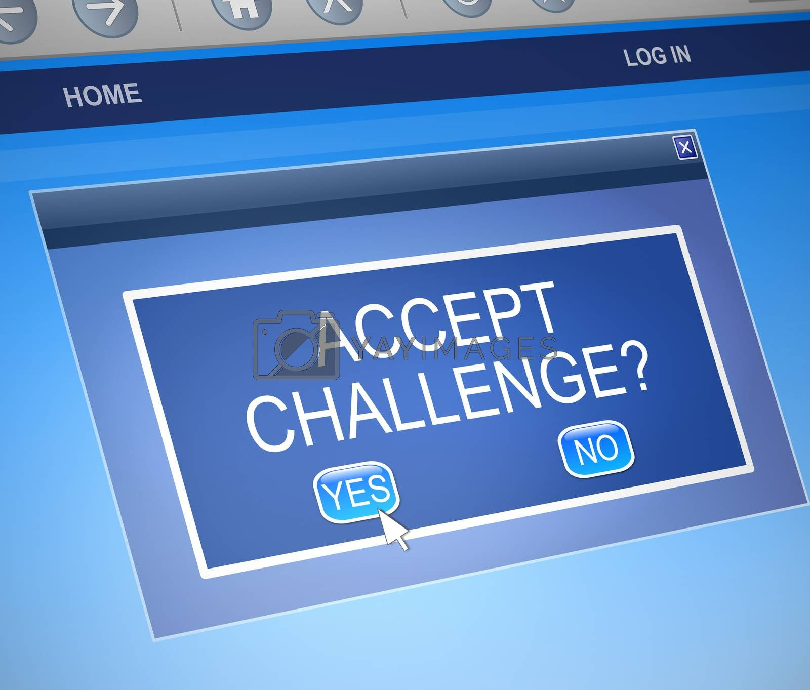 Illustration depicting a computer dialog box with a challenge concept.